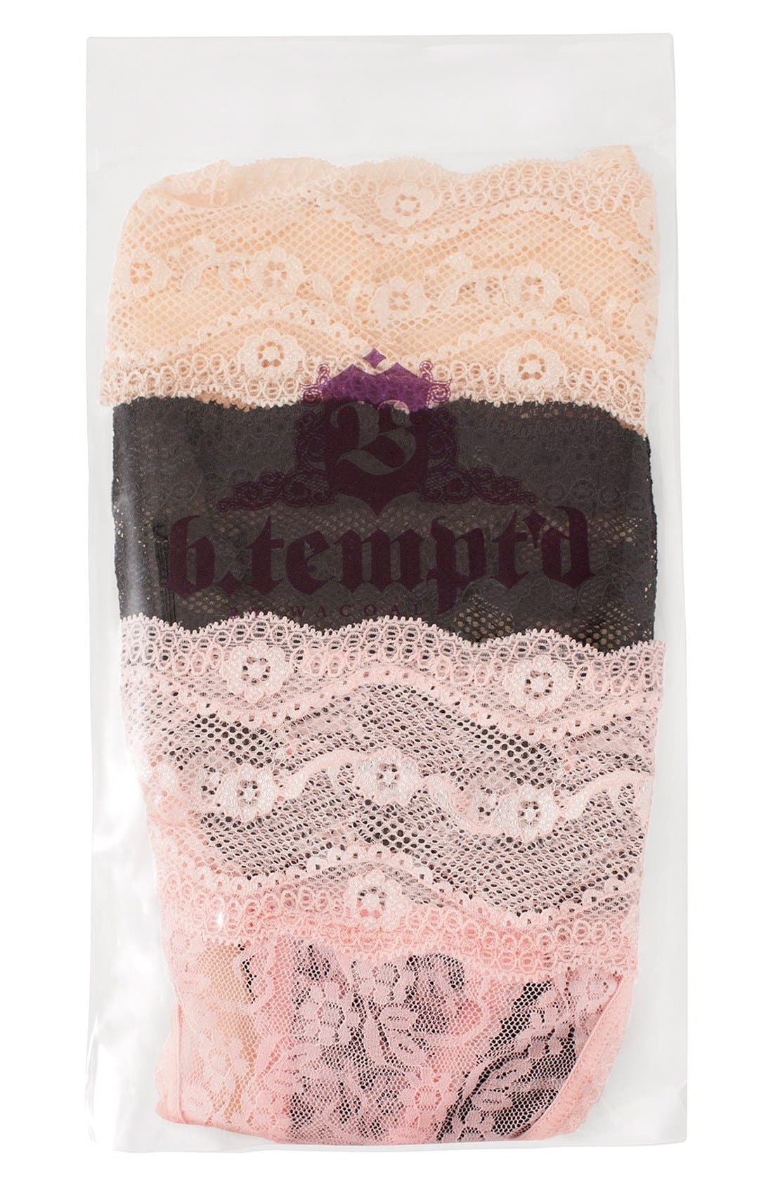 Alternate Image 2  - b.tempt'd by Wacoal Kiss Lace Thong (3-Pack)