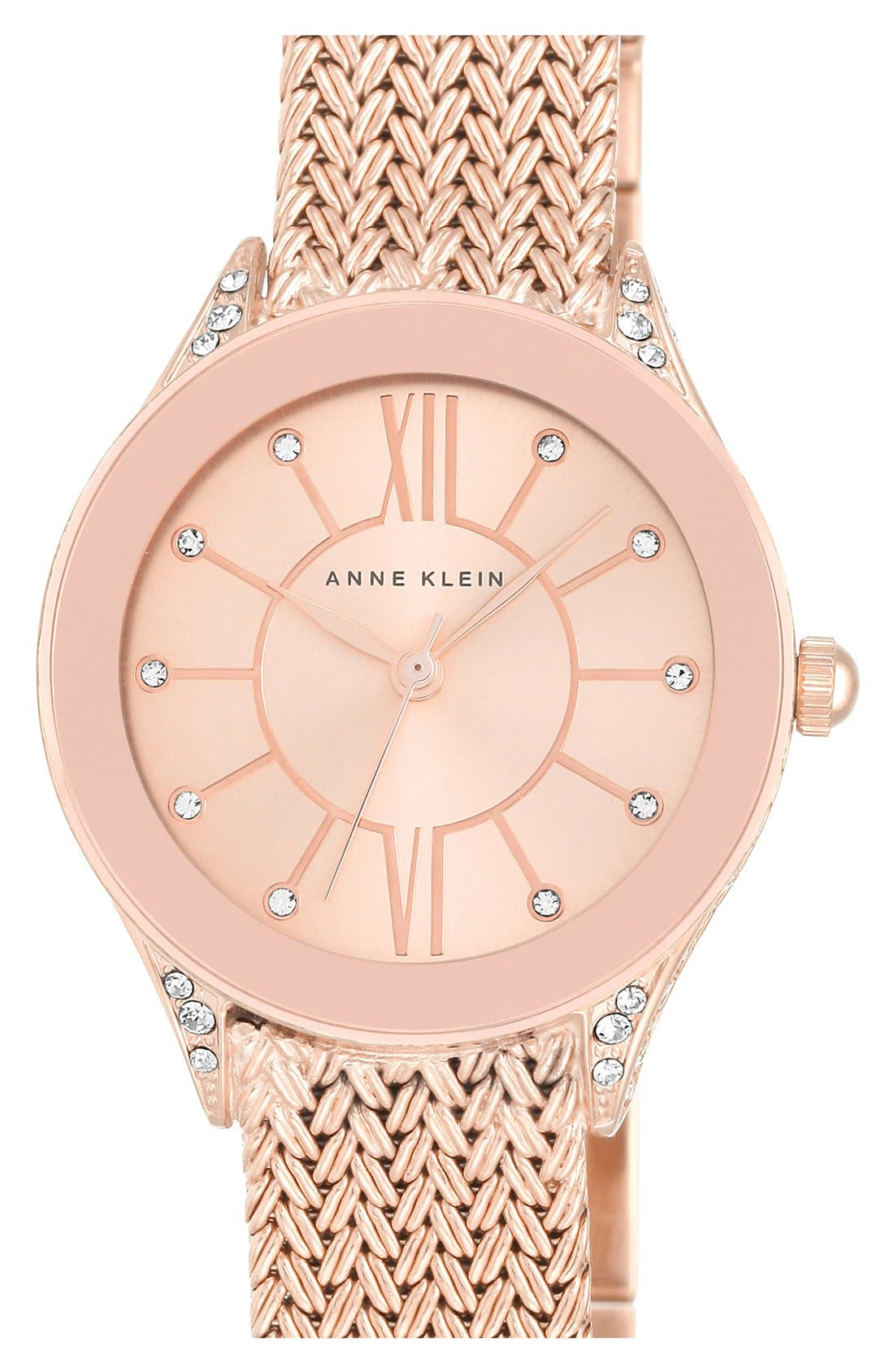 Mesh Strap Watch, 30mm,                         Main,                         color, Rose Gold/ Rose Gold