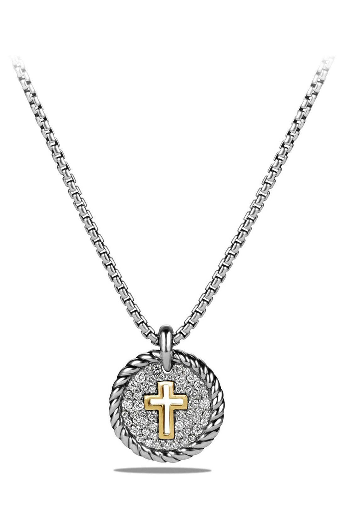 'Cable Collectibles' Cross Charm Necklace with Diamonds & 18K Gold,                         Main,                         color, Silver
