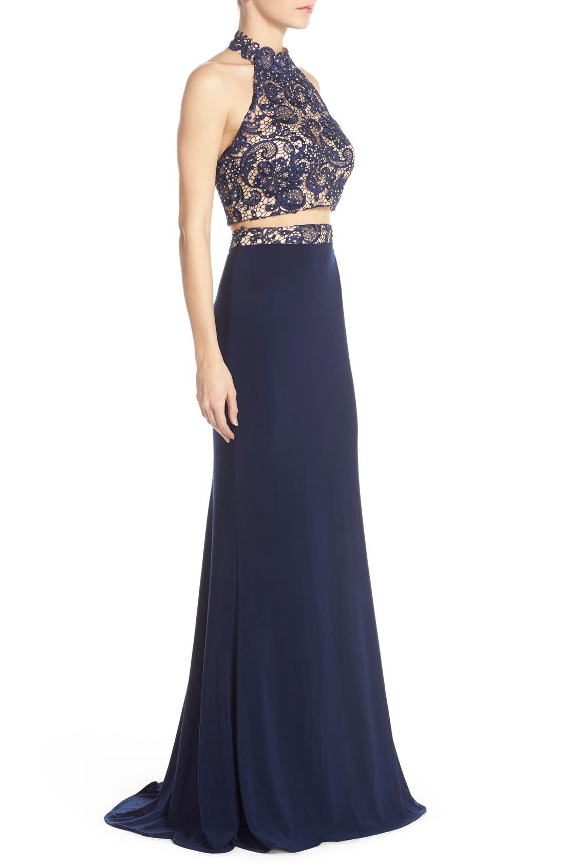 Alternate Image 3  - Faviana Embellished Jersey Two-Piece Gown