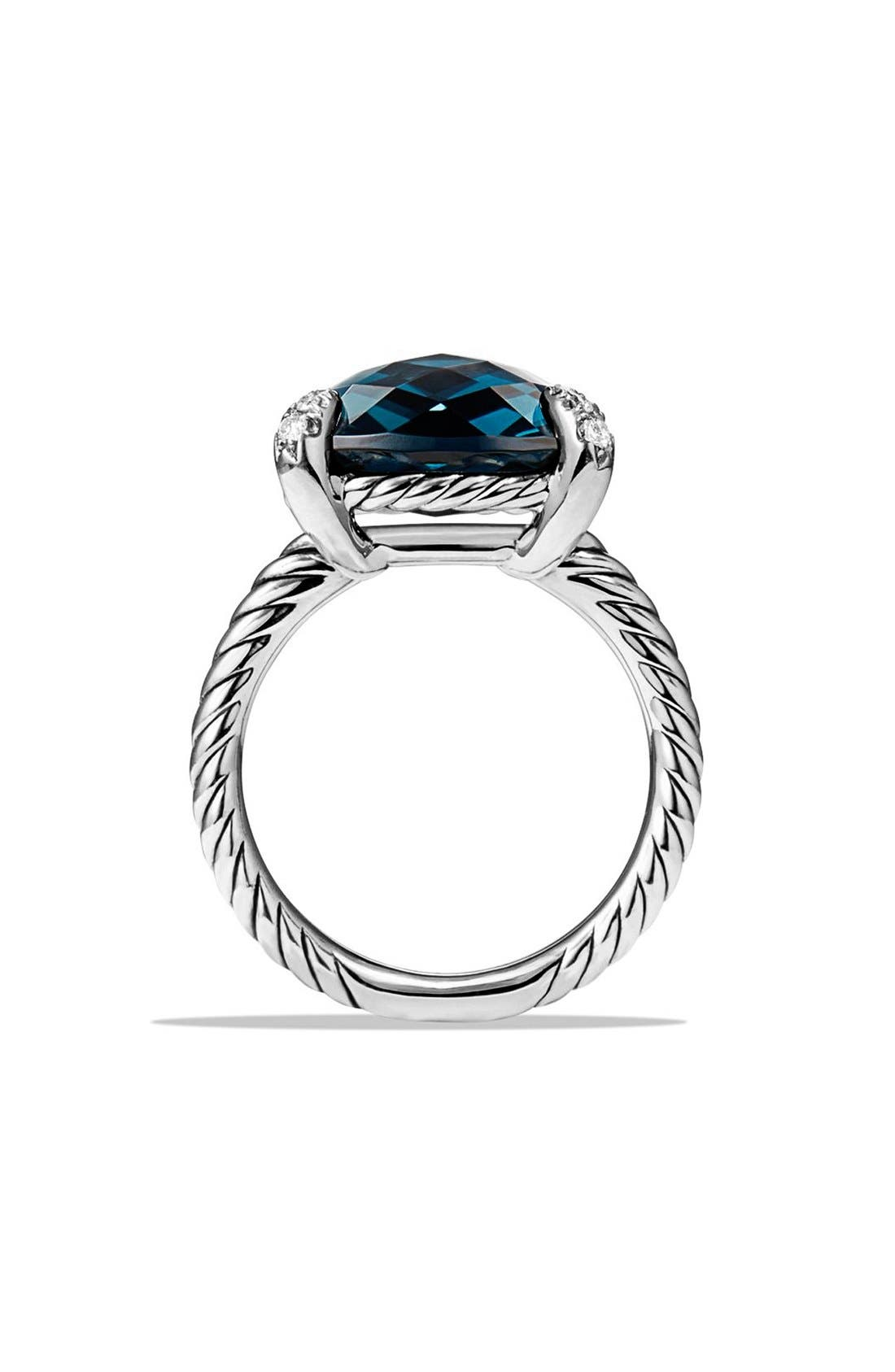'Châtelaine' Ring with Semiprecious Stone and Diamonds,                             Alternate thumbnail 2, color,                             Silver/ Hampton Blue Topaz