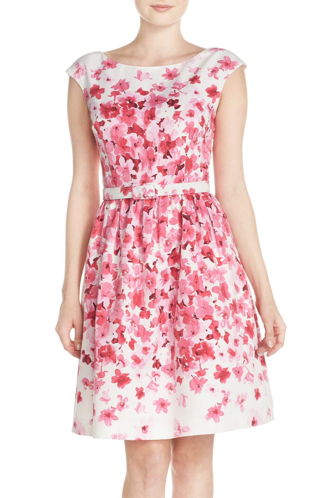 Main Image - Eliza J Belted Floral Faille Fit & Flare Dress