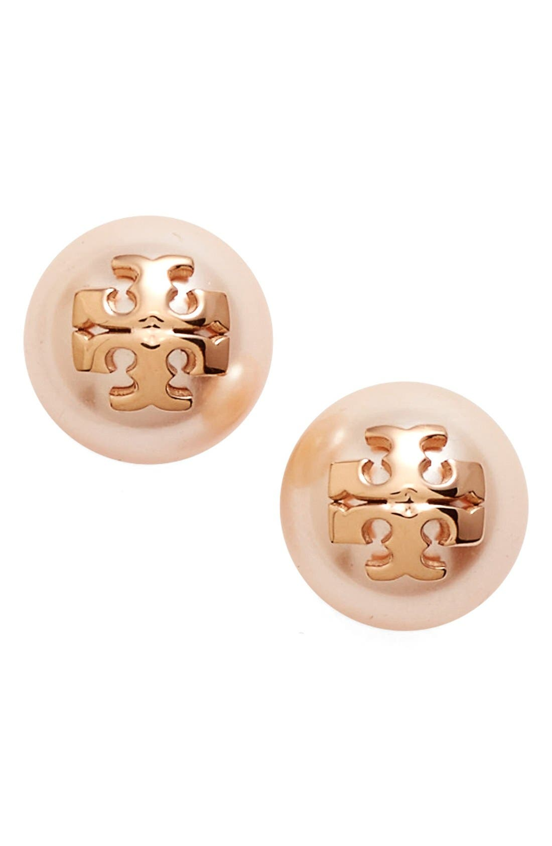 Swarovski Crystal Pearl Logo Stud Earrings,                         Main,                         color, Rose Gold