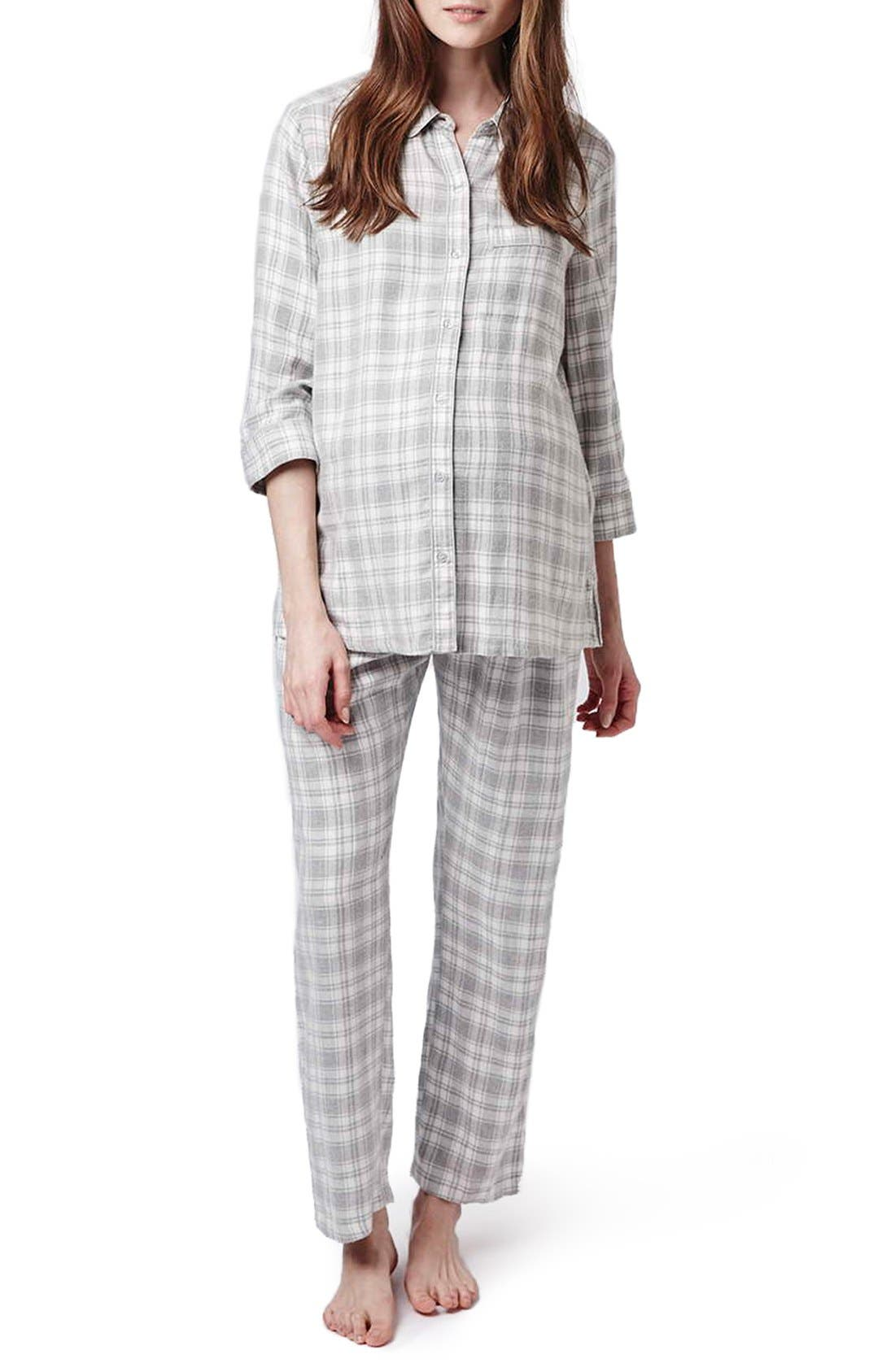 Alternate Image 1 Selected - Topshop Plaid Maternity Pajamas