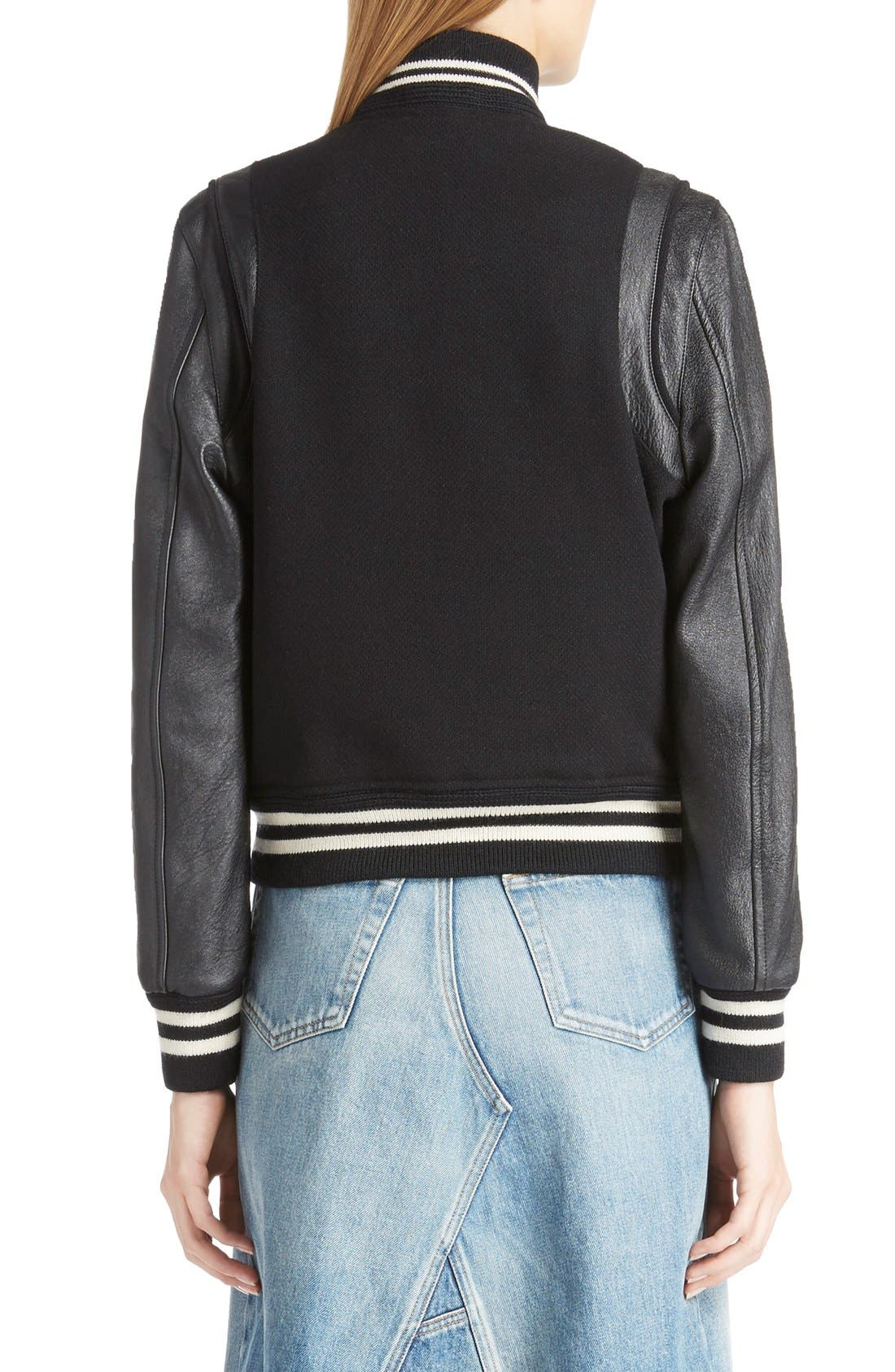 Alternate Image 2  - Saint Laurent 'Teddy' Full Leather Sleeve Bomber Jacket