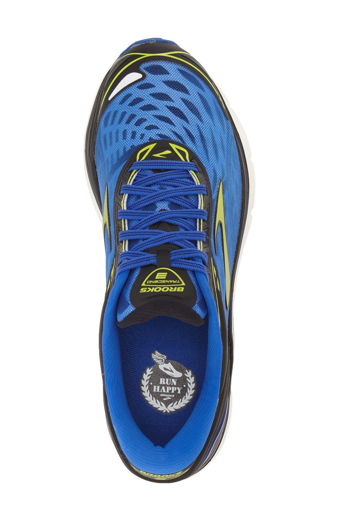 'Transcend 3' Running Shoe,                             Alternate thumbnail 3, color,                             Electric Blue/ Lime/ Black