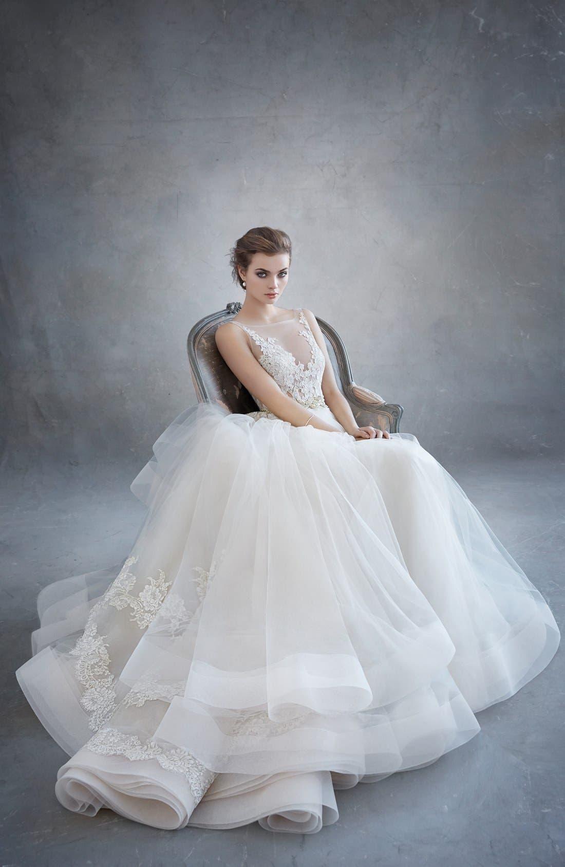 Lace Appliqué Tulle Ballgown Dress,                             Alternate thumbnail 3, color,                             Ivory/Gold/Champagne