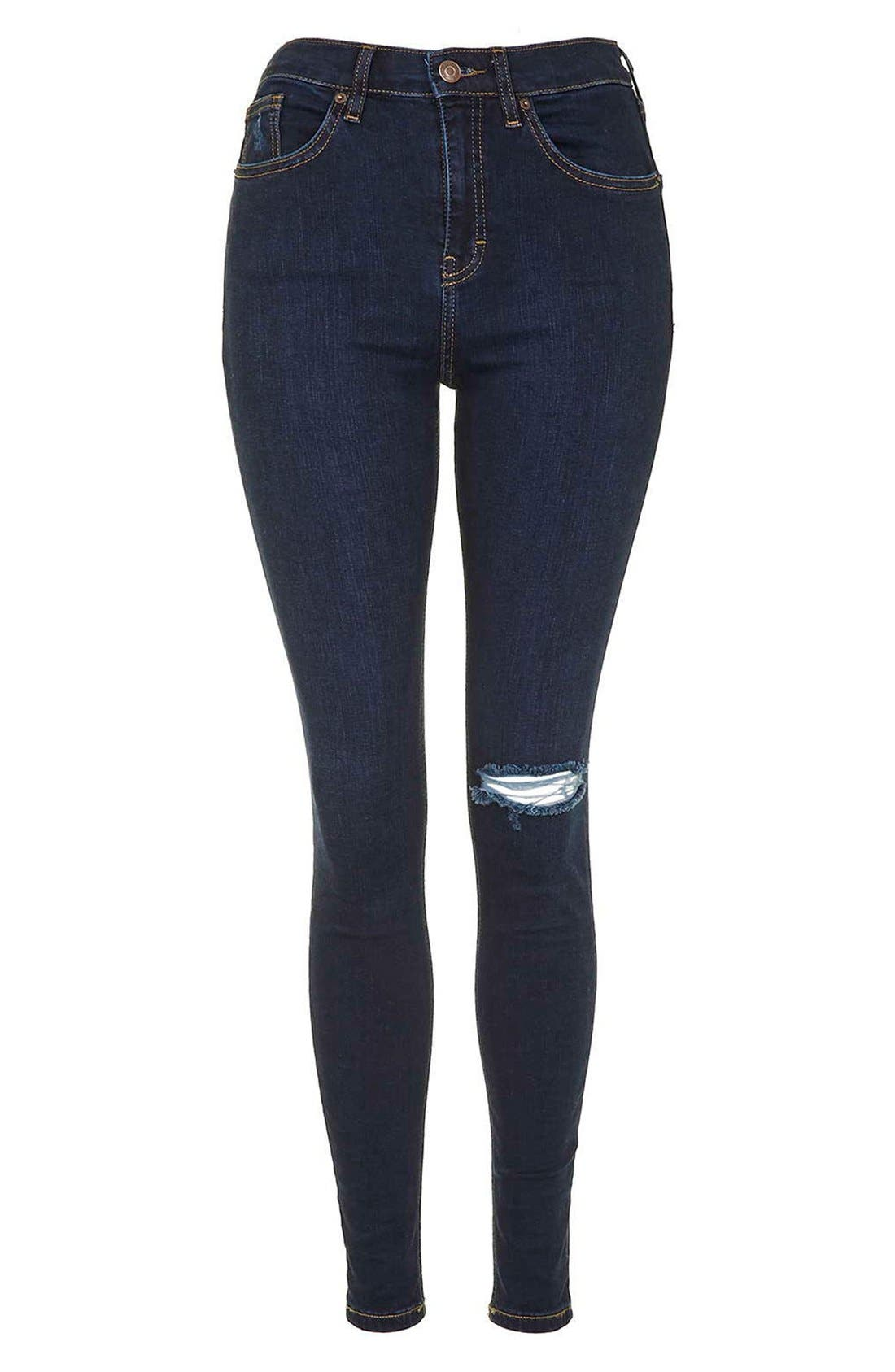 Alternate Image 4  - Topshop Moto 'Jamie' Ripped Skinny Jeans (Navy Blue)