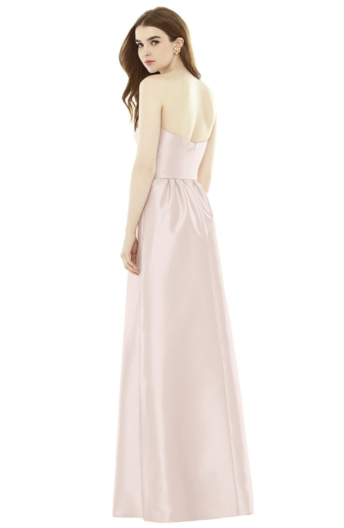 Alternate Image 2  - Alfred Sung Strapless Sateen A-Line Gown