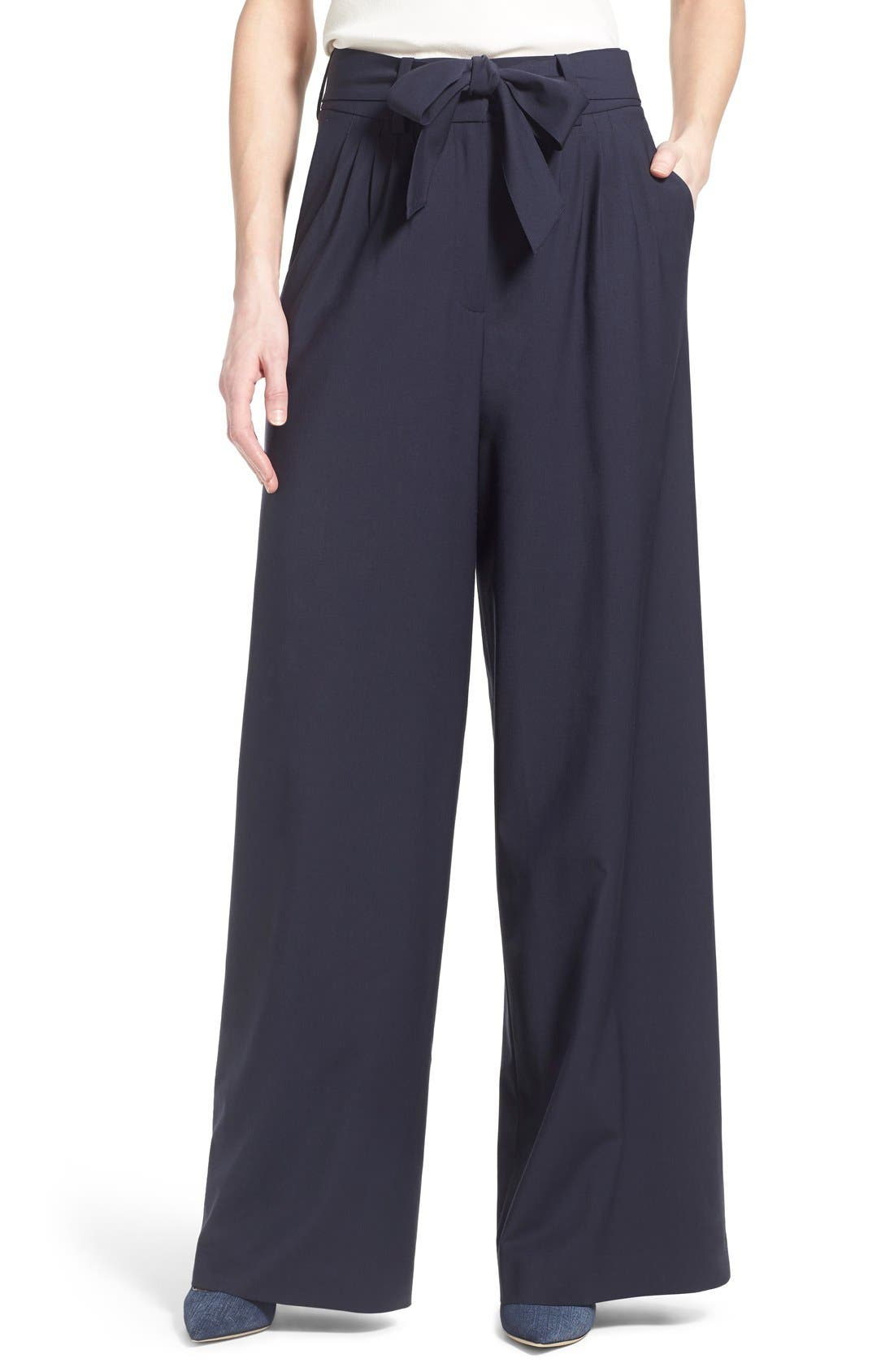 Pleat Front Trousers,                         Main,                         color, Navy Evening