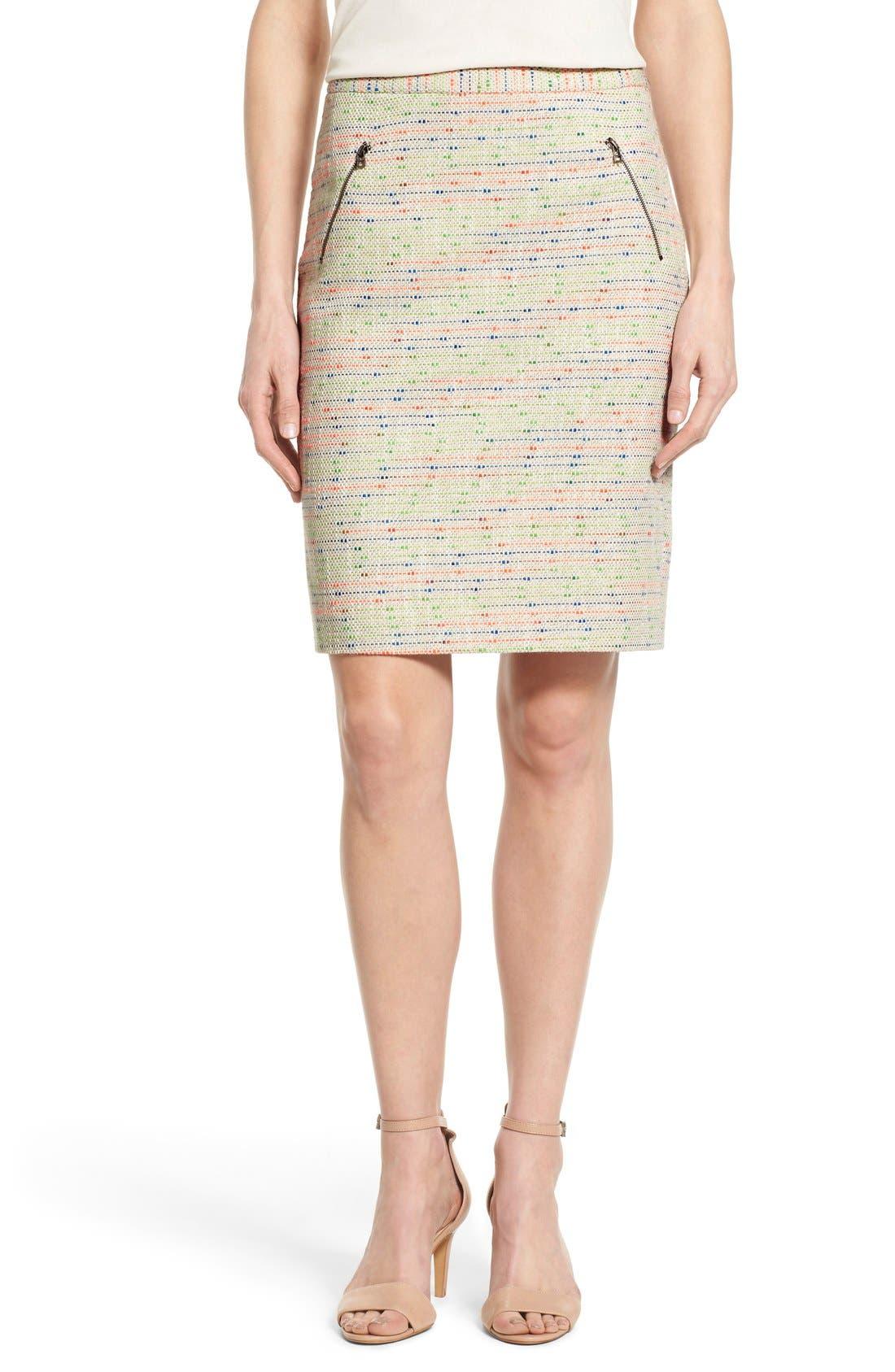 Alternate Image 1 Selected - Halogen® Zip Pocket Tweed Pencil Skirt