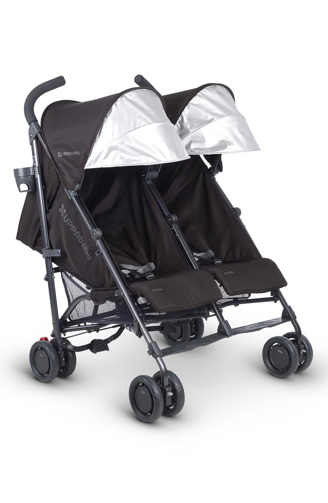 G-LINK Jake Aluminum Frame Reclining Side by Side Umbrella Stroller,                             Alternate thumbnail 3, color,                             Black