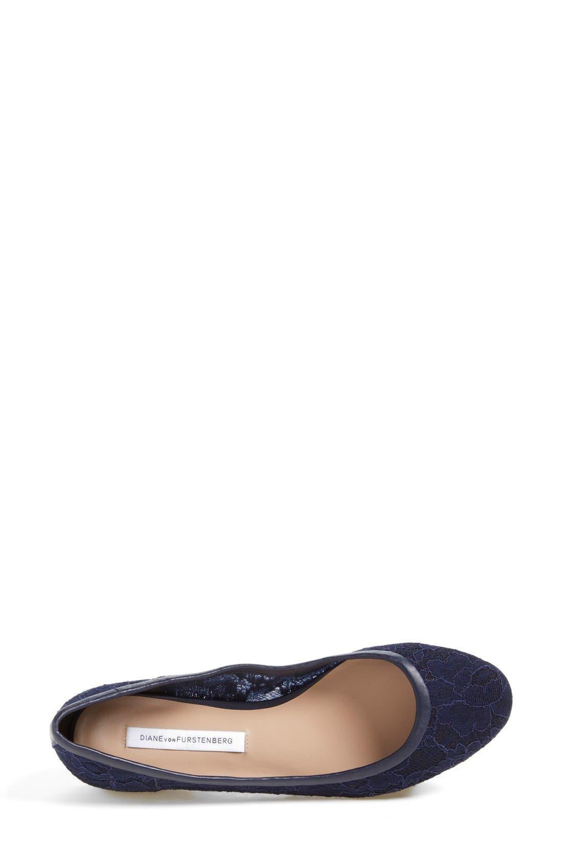 'Marano' Lace Ballet Flat,                             Alternate thumbnail 3, color,                             Navy Lace