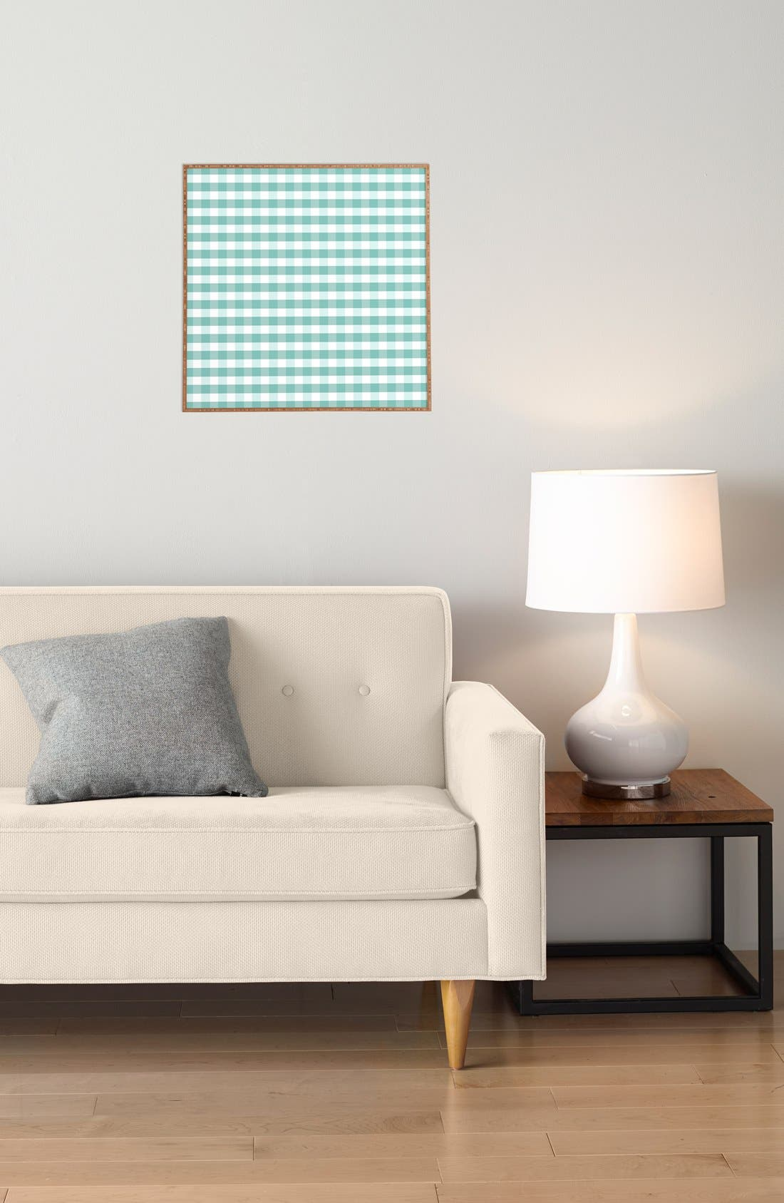 'Icy Gingham' Framed Wall Art,                             Alternate thumbnail 3, color,                             Blue