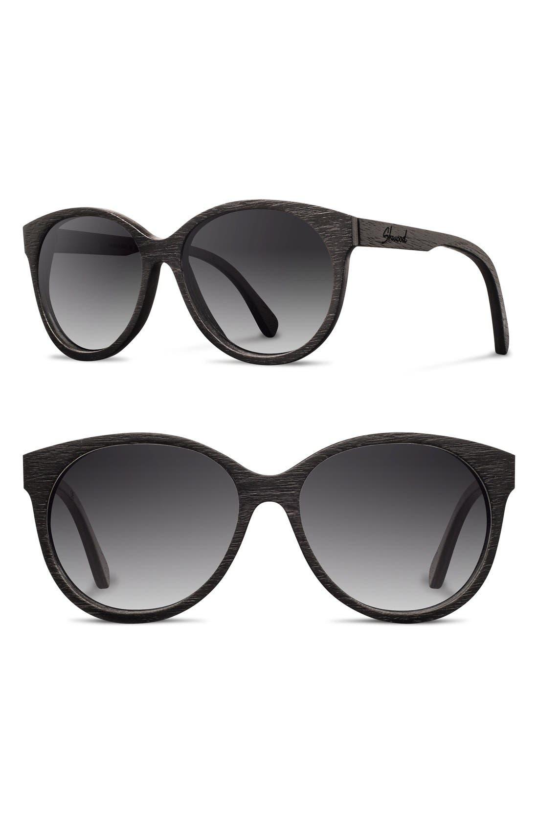 'Madison' 54mm Round Polarized Wood Sunglasses,                             Main thumbnail 1, color,                             Black/ Grey Fade Polar