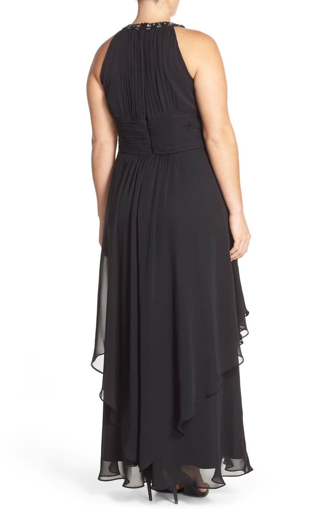 Embellished Keyhole Neck Chiffon Gown,                             Alternate thumbnail 2, color,                             Black