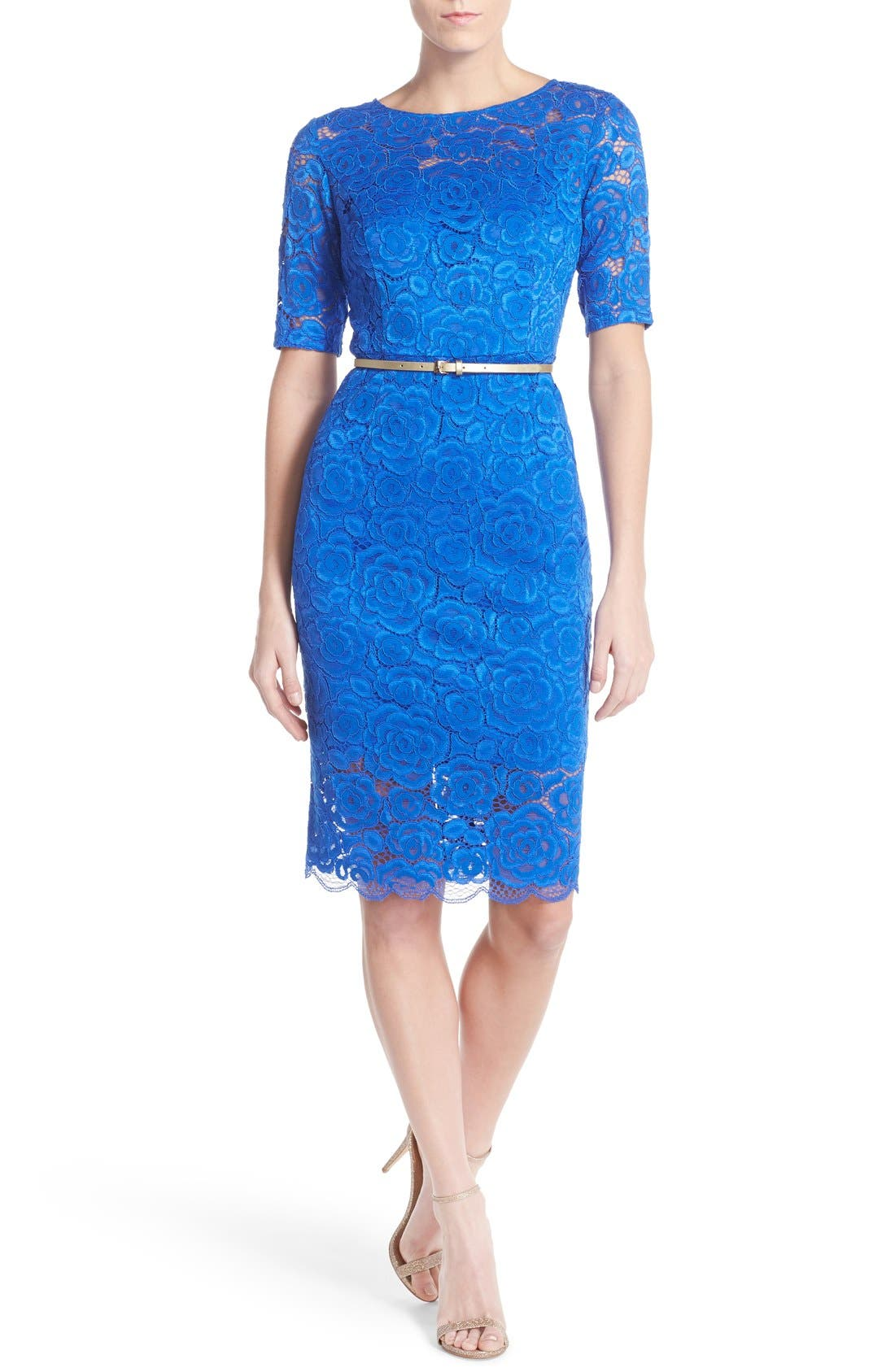 Ellen Tracy Belted Lace Sheath Dress (Regular & Petite)