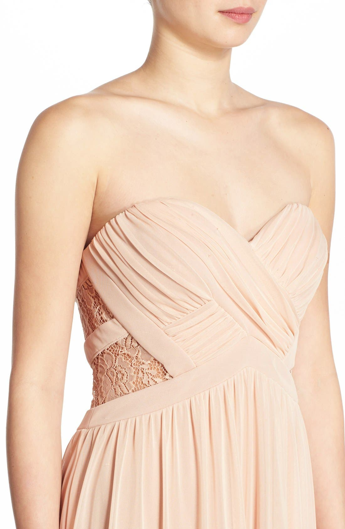 Alternate Image 5  - Way-In 'Diana' Lace Inset Strapless Gown