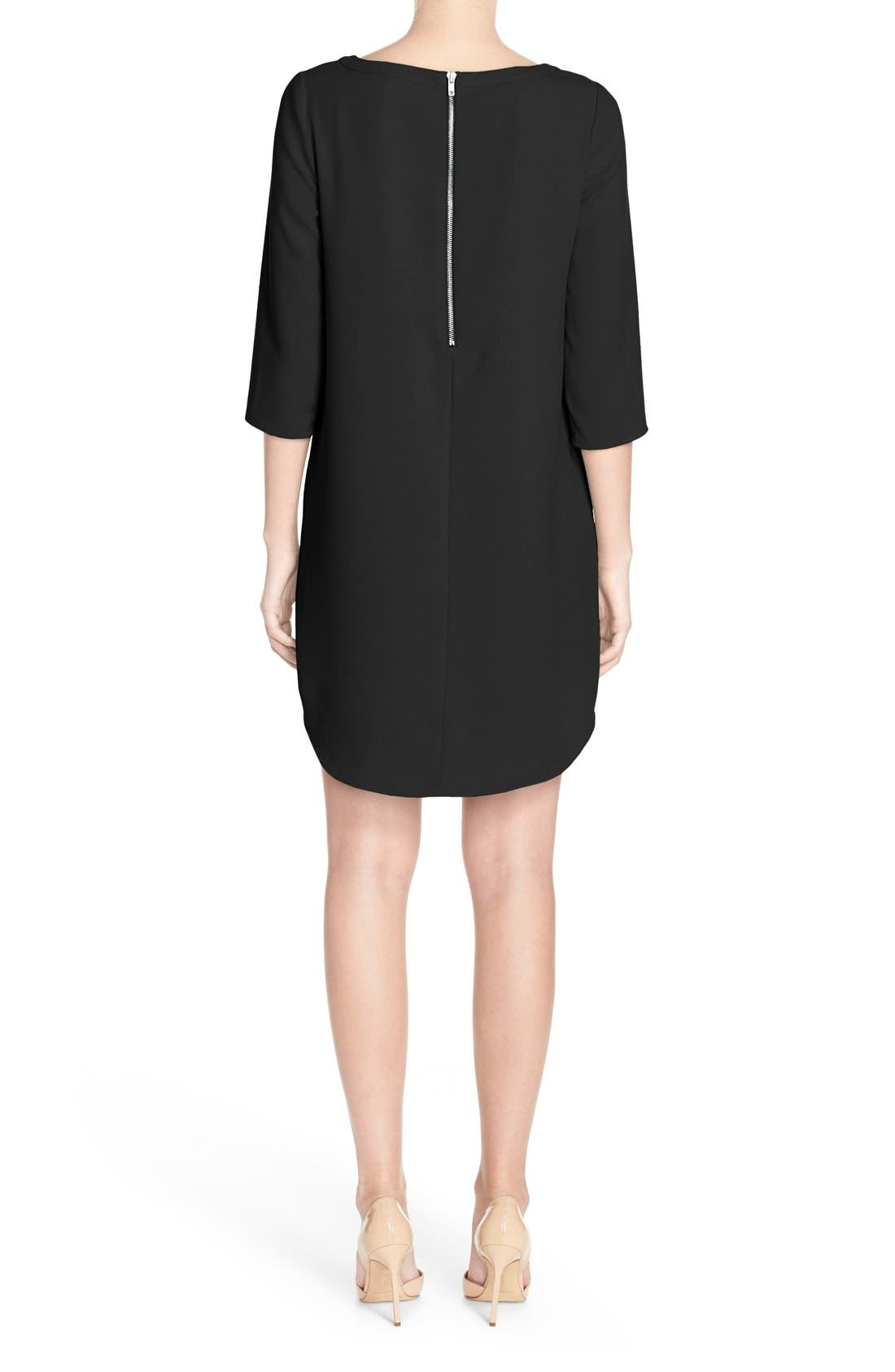 'Jazlyn' Crepe Shift Dress,                             Alternate thumbnail 2, color,                             Black