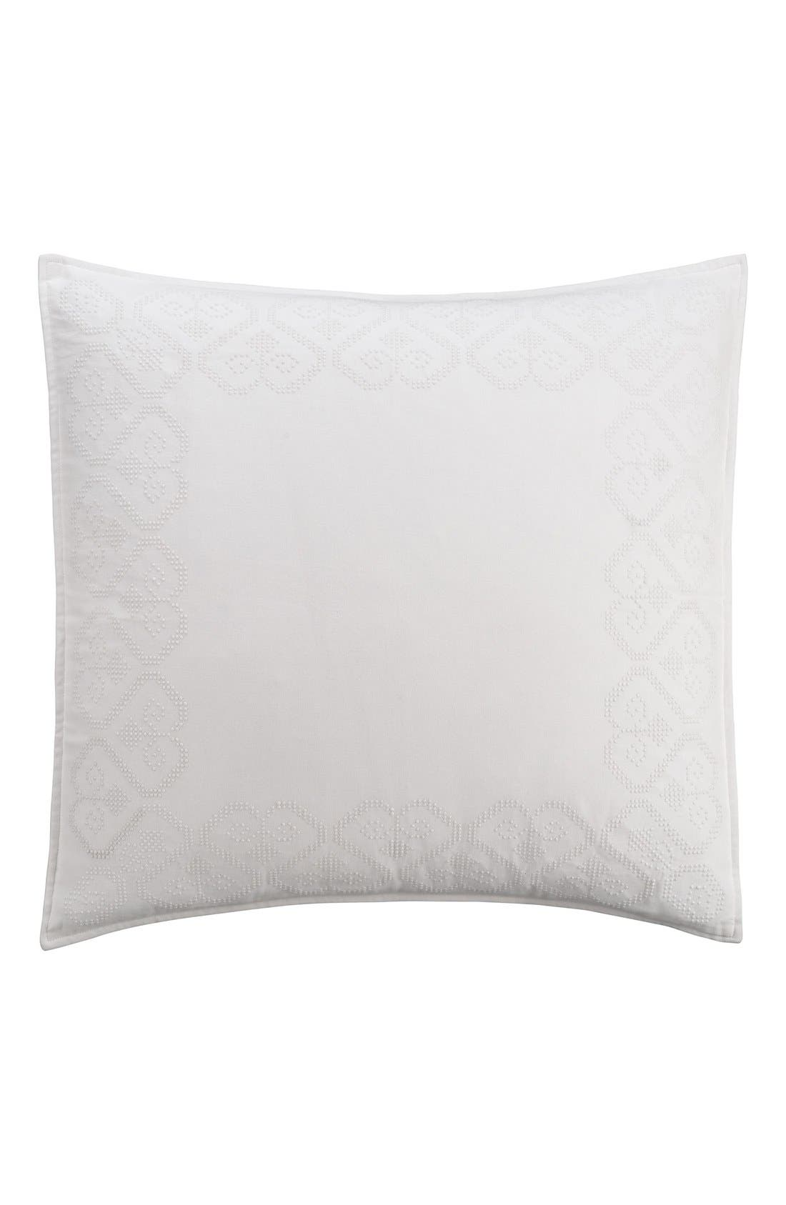 'Lace Medallion' Euro Sham,                             Main thumbnail 1, color,                             White