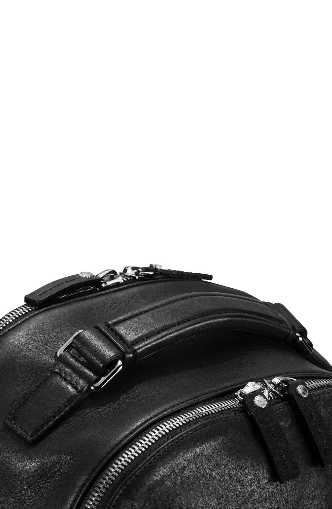 Runwell Leather Laptop Backpack,                             Alternate thumbnail 7, color,                             Black