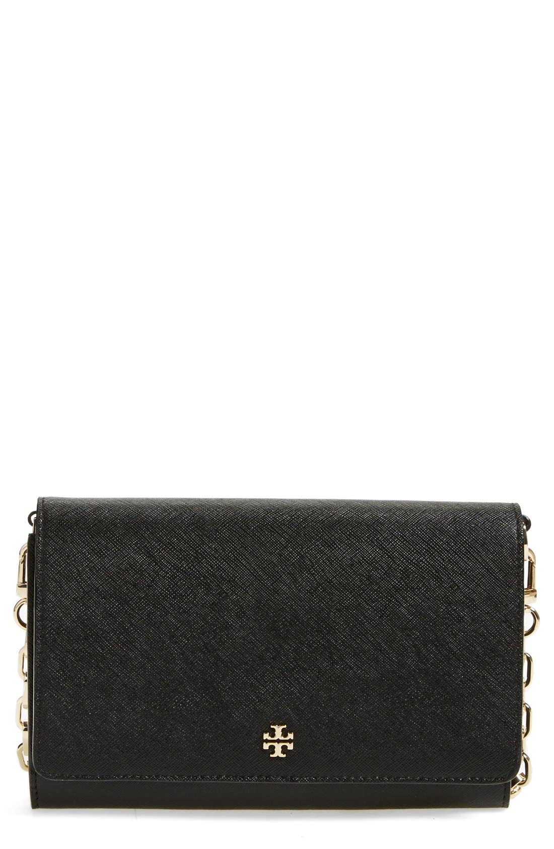 'Robinson' Leather Wallet on a Chain,                             Main thumbnail 1, color,                             Black