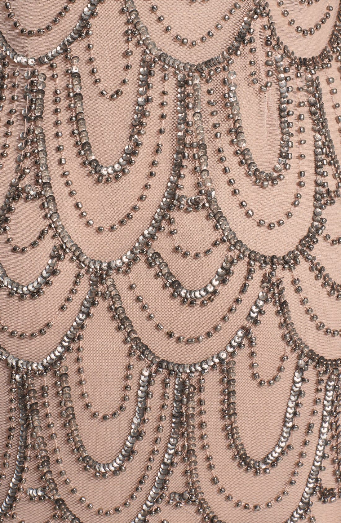 Embellished Mesh Sheath Dress,                             Alternate thumbnail 3, color,                             Rose