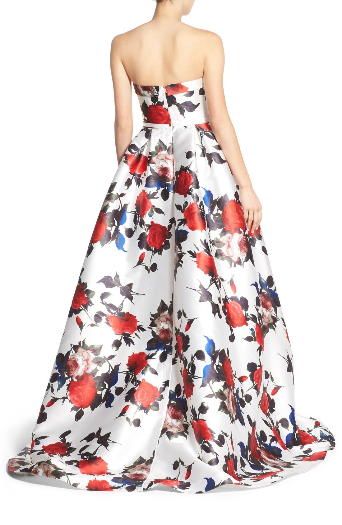 Floral Print Strapless Gown,                             Alternate thumbnail 2, color,                             White Multi