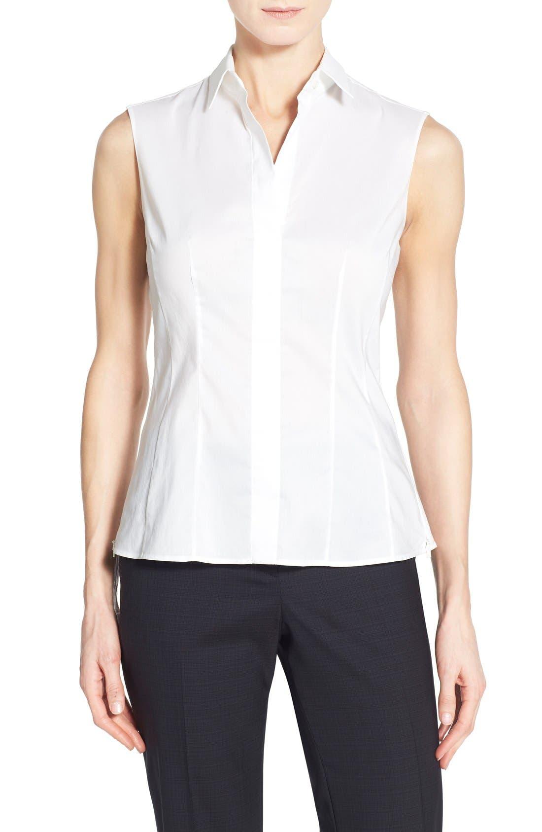 Main Image - BOSS 'Bashiva' Sleeveless Poplin Shirt (Regular & Petite)