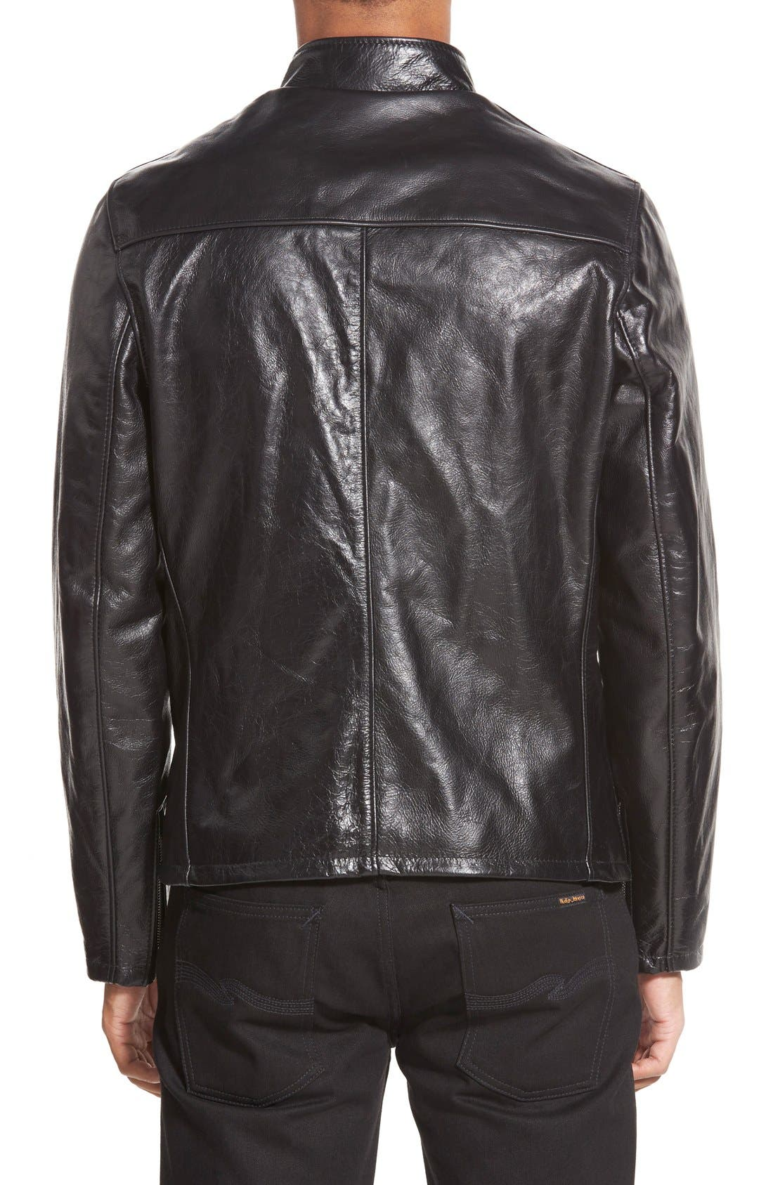 Alternate Image 2  - Schott NYC 'Casual Café Racer' Slim Fit Leather Jacket