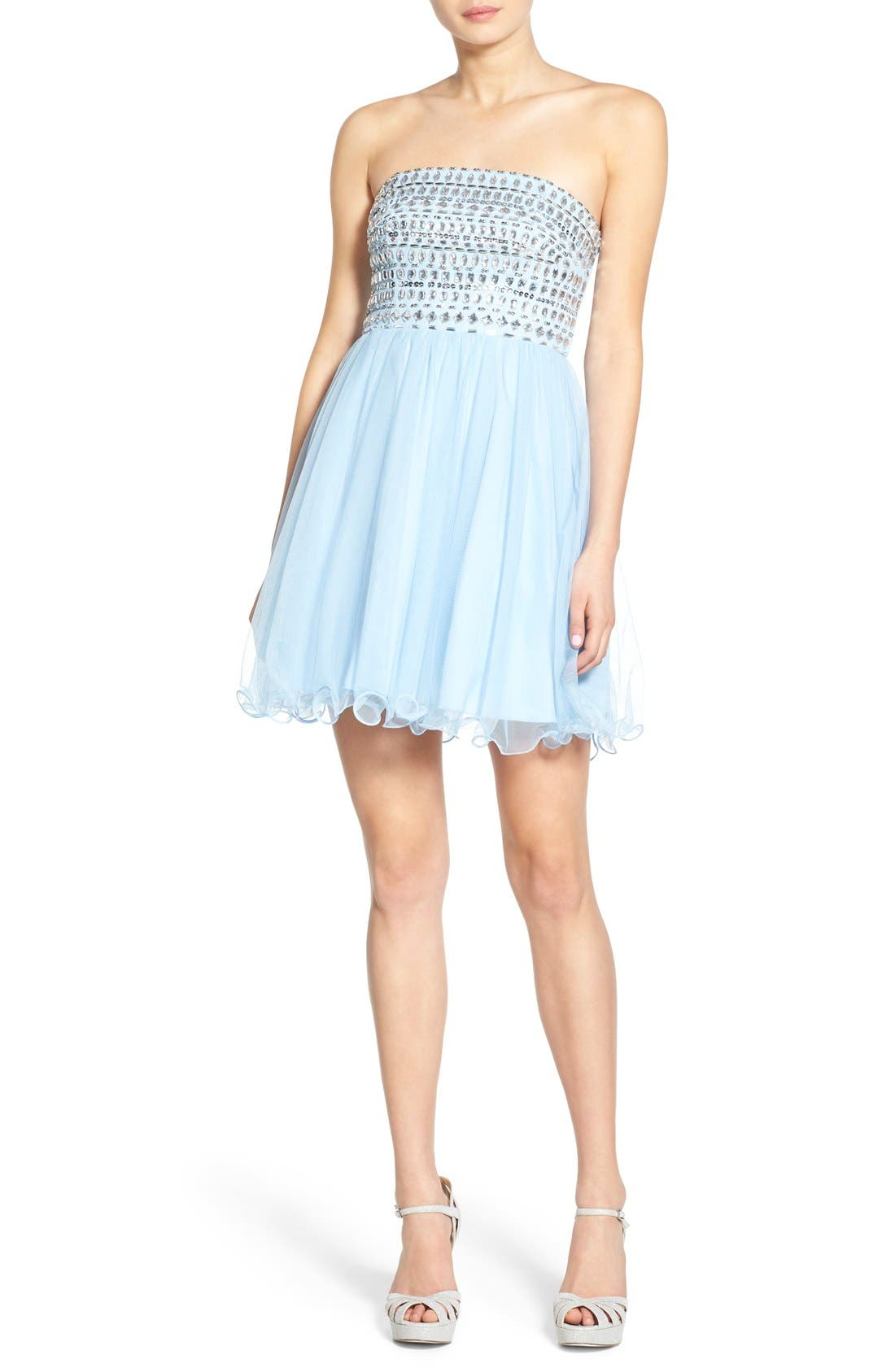 Main Image - Sequin Hearts Rhinestone Bodice Strapless Dress