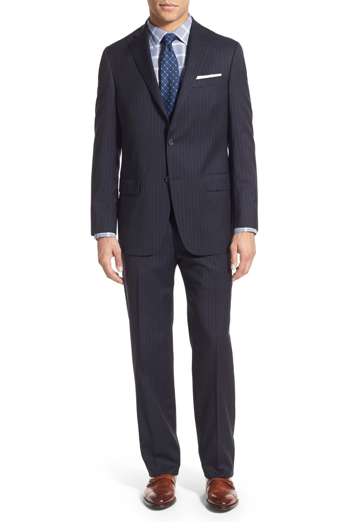 New York Classic Fit Stripe Wool Suit,                         Main,                         color, Navy