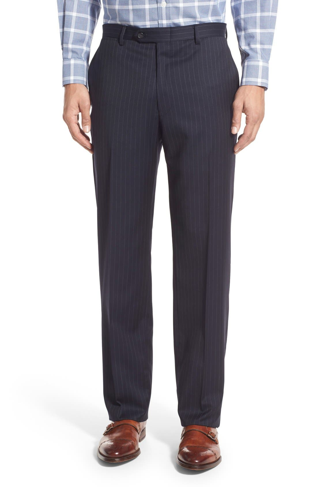 New York Classic Fit Stripe Wool Suit,                             Alternate thumbnail 3, color,                             Navy