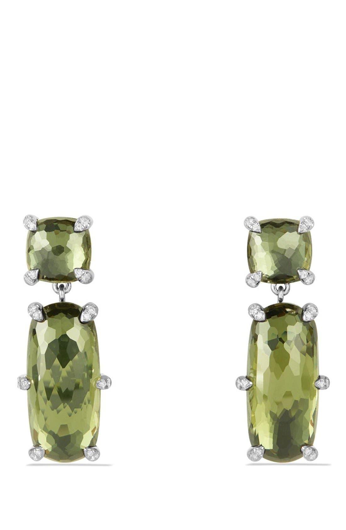 'Châtelaine' Double Drop Earrings,                             Main thumbnail 1, color,                             Silver/ Citrine/ Hematine