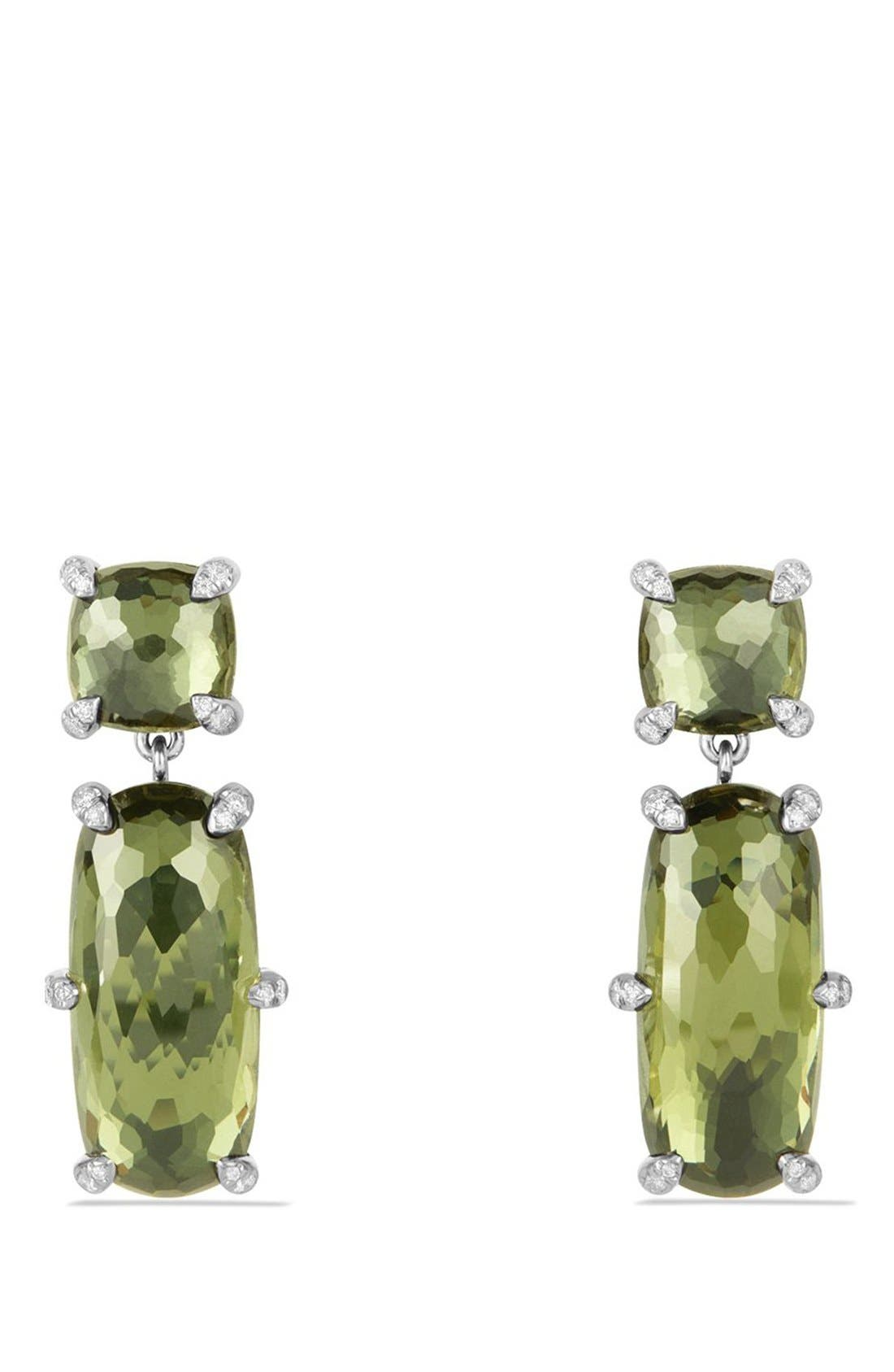 'Châtelaine' Double Drop Earrings,                         Main,                         color, Silver/ Citrine/ Hematine