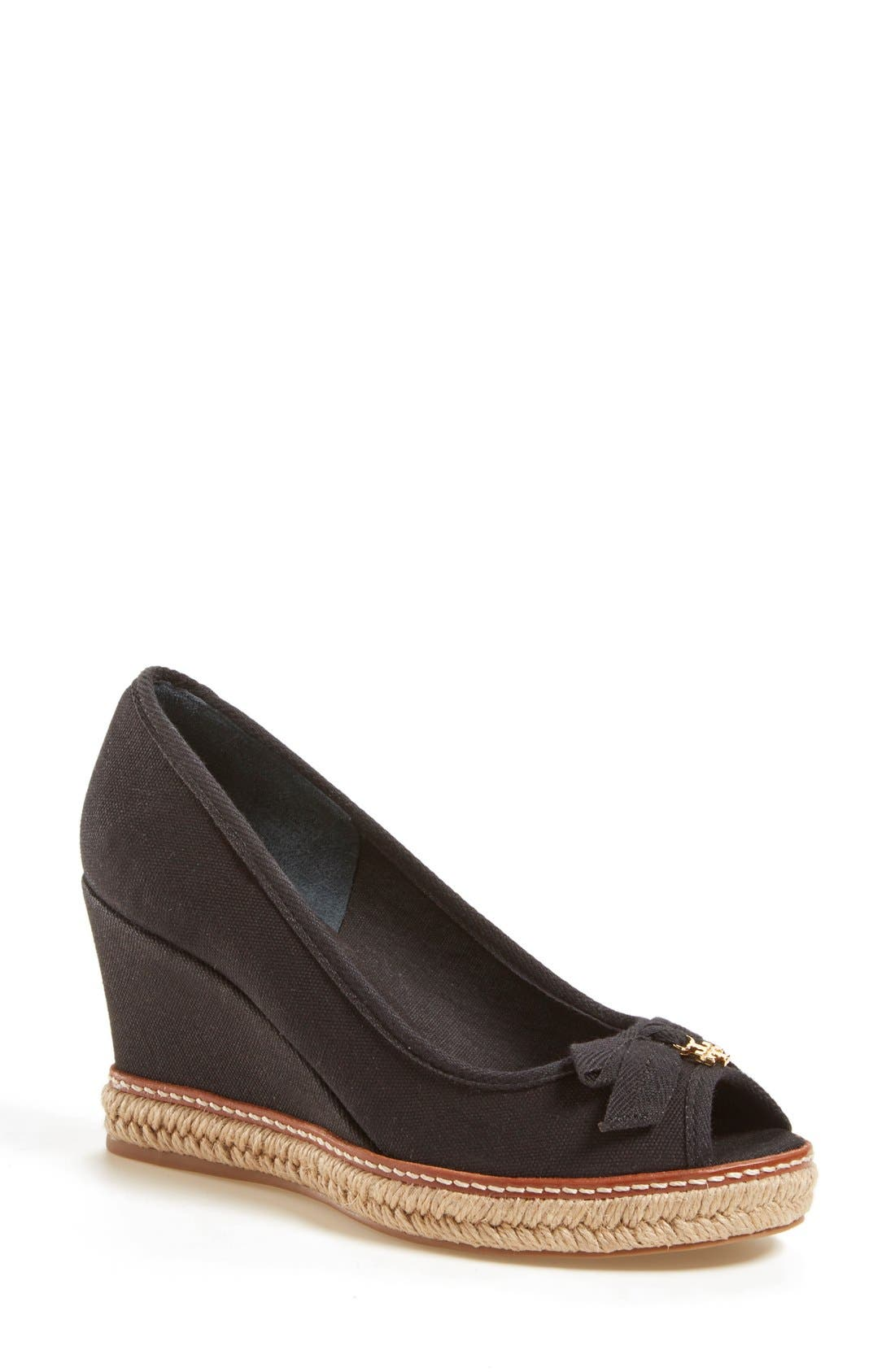 'Jackie 2' Peep Toe Wedge,                         Main,                         color, Black Canvas/ Grosgrain