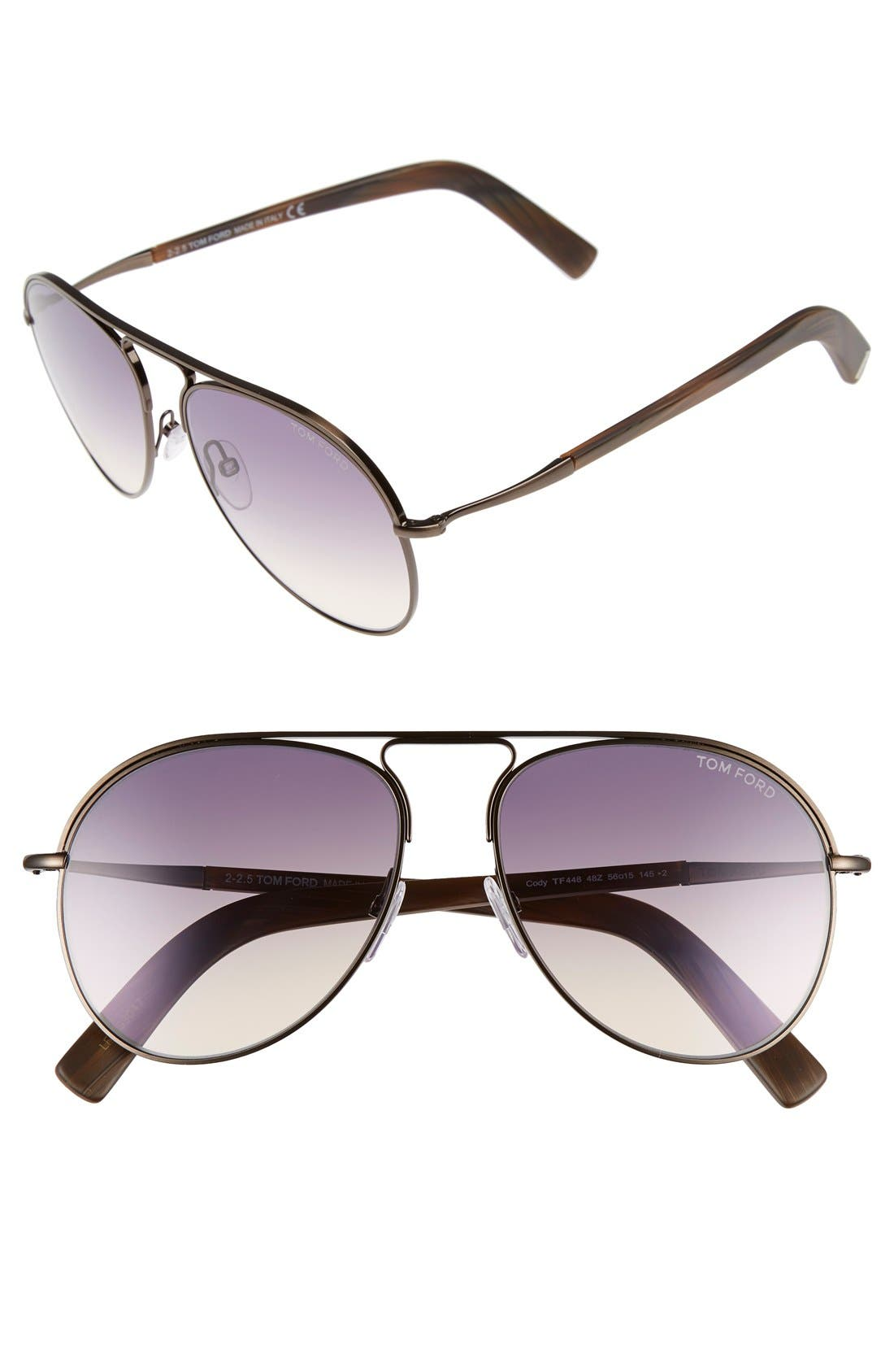 Alternate Image 1 Selected - Tom Ford 'Cody' 56mm Aviator Sunglasses