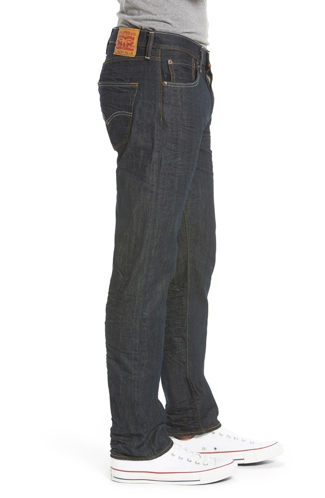 Red Tab<sup>™</sup> '501<sup>®</sup>' Straight Leg Jeans,                             Alternate thumbnail 3, color,                             Dimensional Rigid Blue