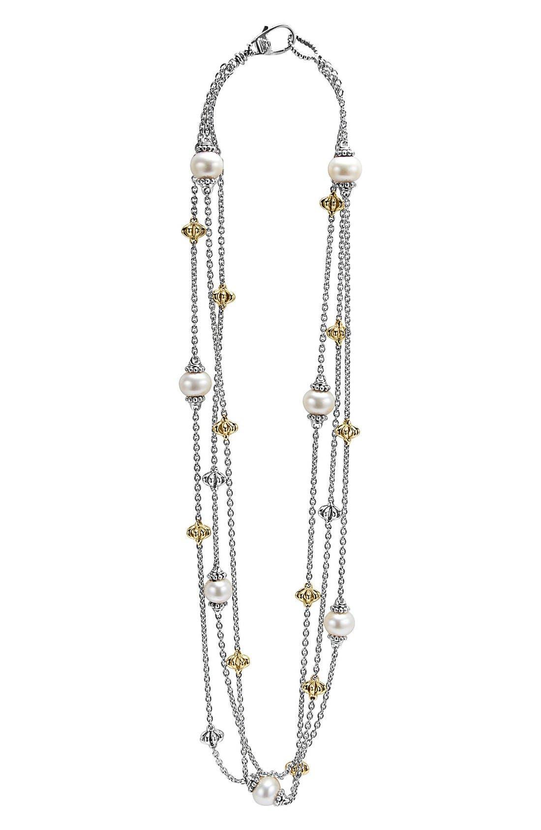 LAGOS Luna Pearl Three-Strand Link Necklace