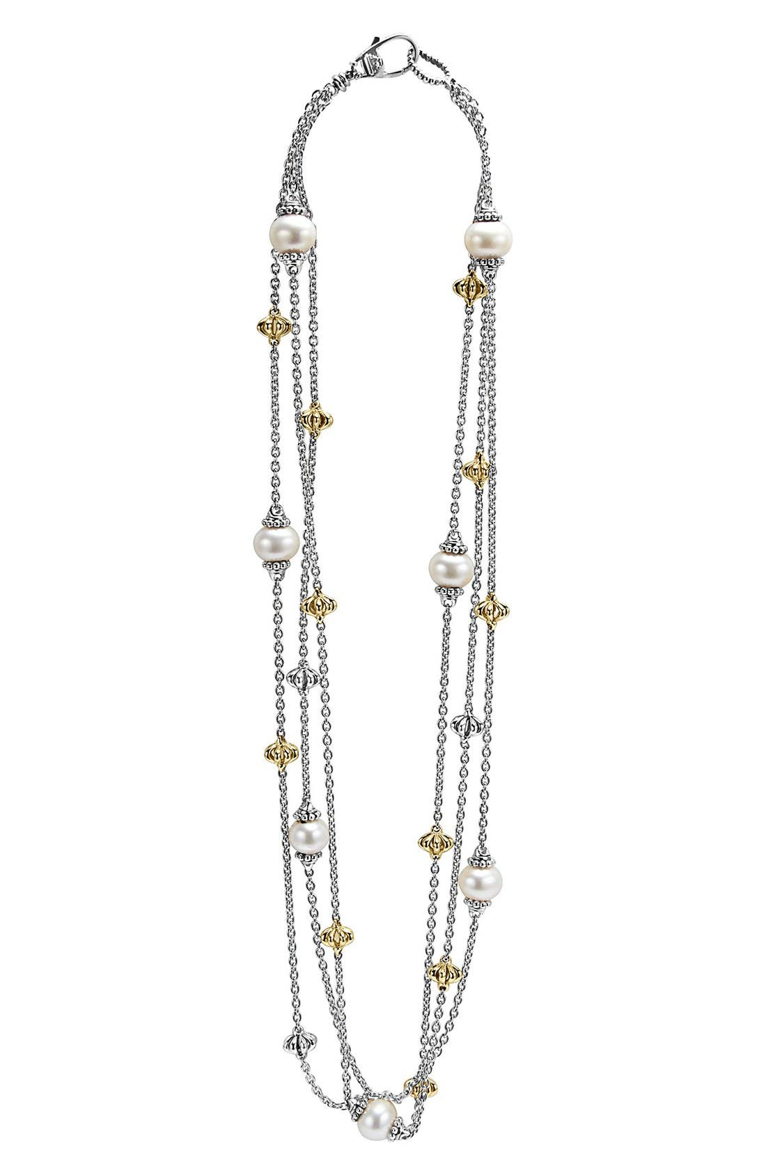 'Luna' Pearl Three-Strand Link Necklace,                         Main,                         color, Silver/ Gold/ Pearl