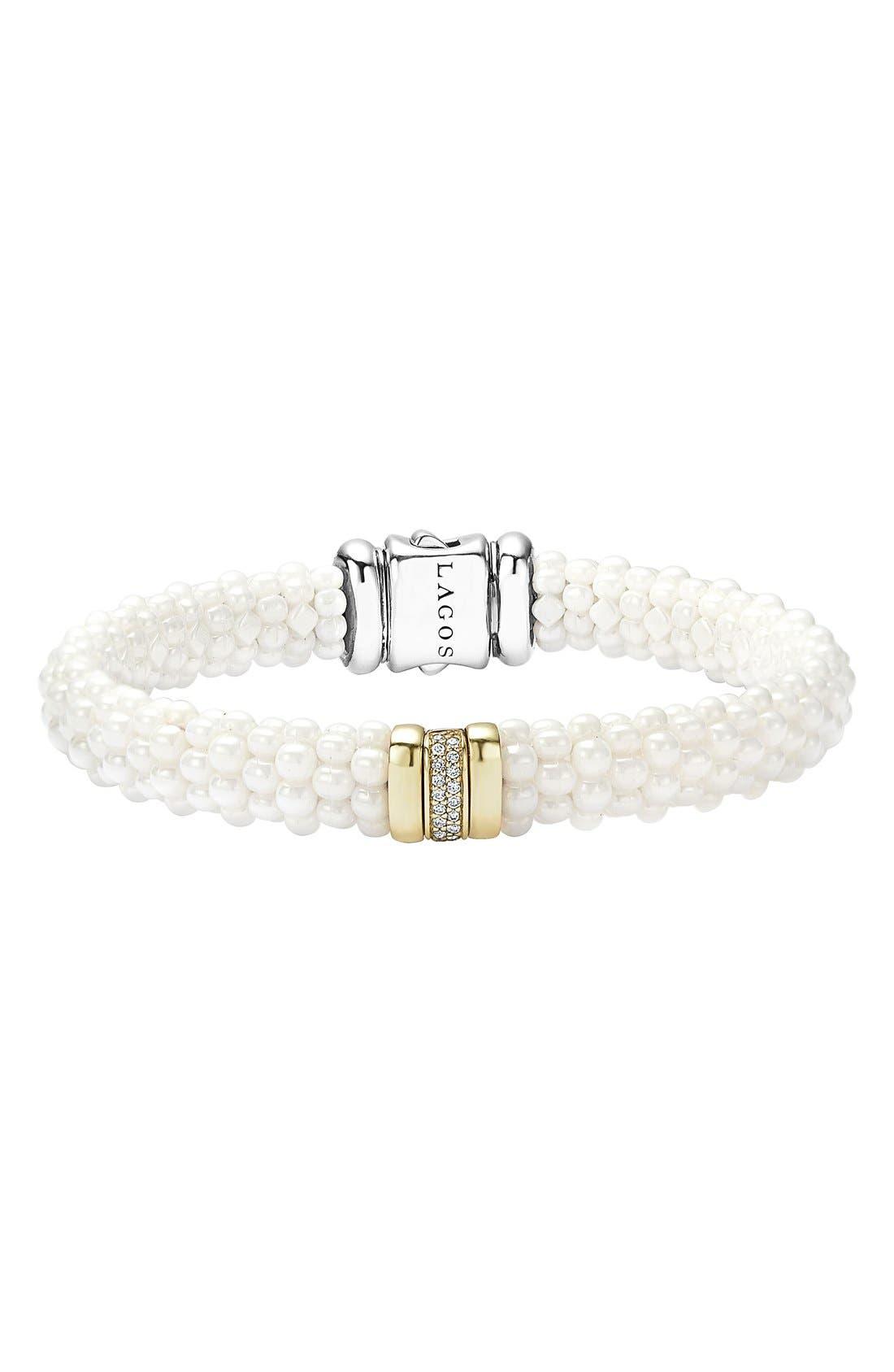 'White Caviar' Diamond Rope Bracelet,                             Main thumbnail 1, color,                             White Caviar/ Yellow Gold