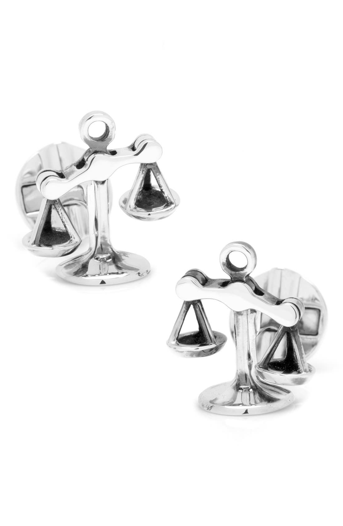 'Scales of Justice' Cuff Links,                             Main thumbnail 1, color,                             Silver
