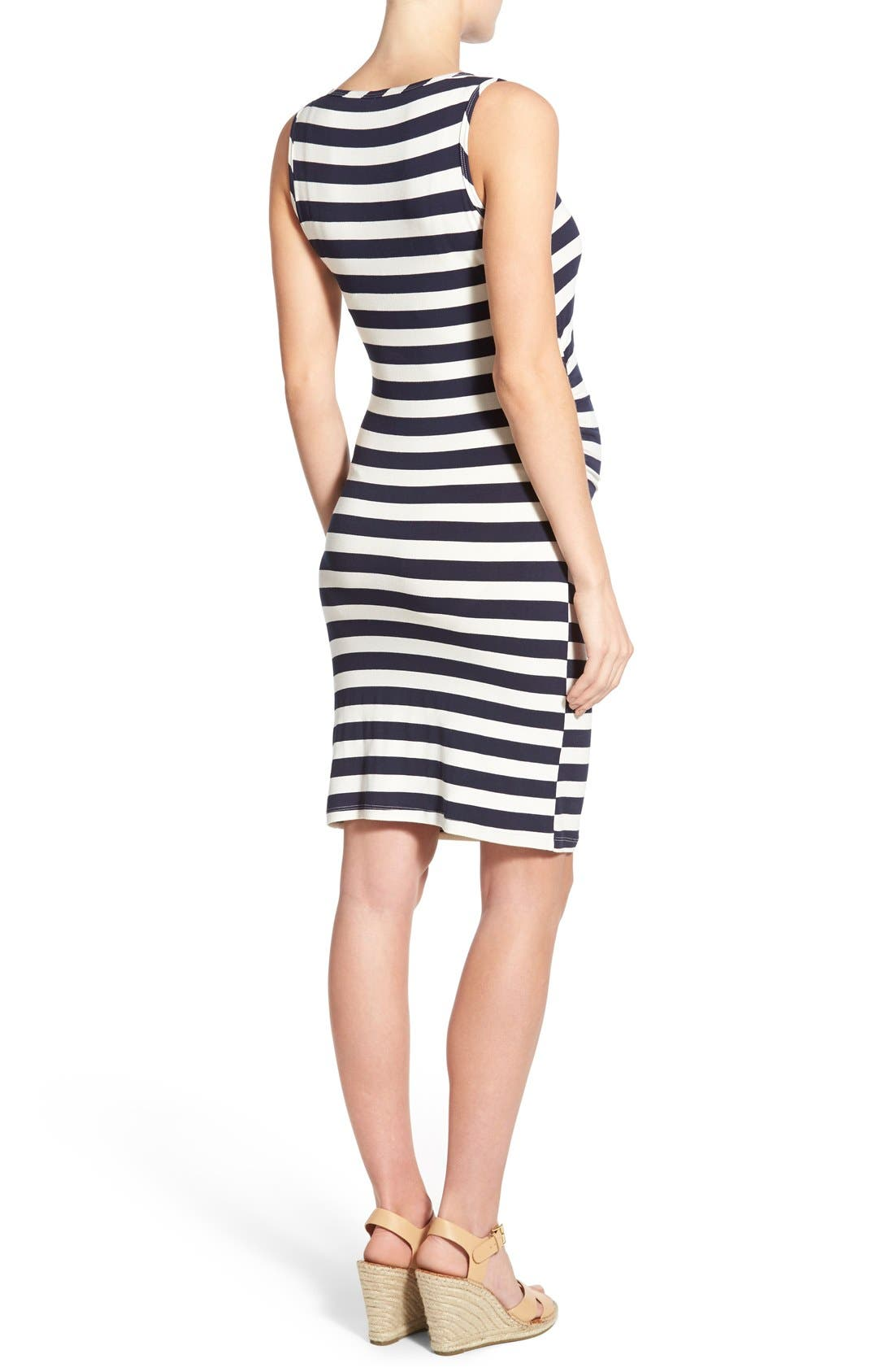 'Joy' Sleeveless Maternity/Nursing Midi Dress,                             Alternate thumbnail 2, color,                             Even Navy Stripe