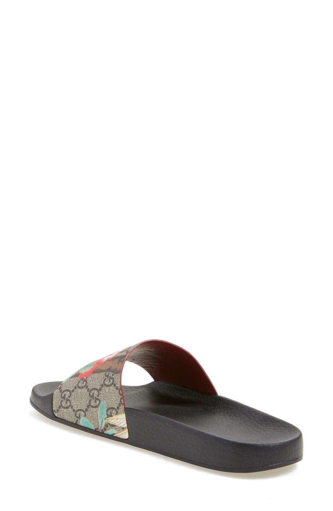 Floral Logo Slide Sandal,                             Alternate thumbnail 2, color,                             Ebony