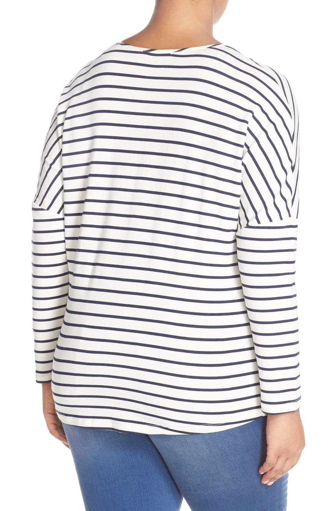 'Julian' Stripe French Terry Surplice Top,                             Alternate thumbnail 2, color,                             White/ Navy