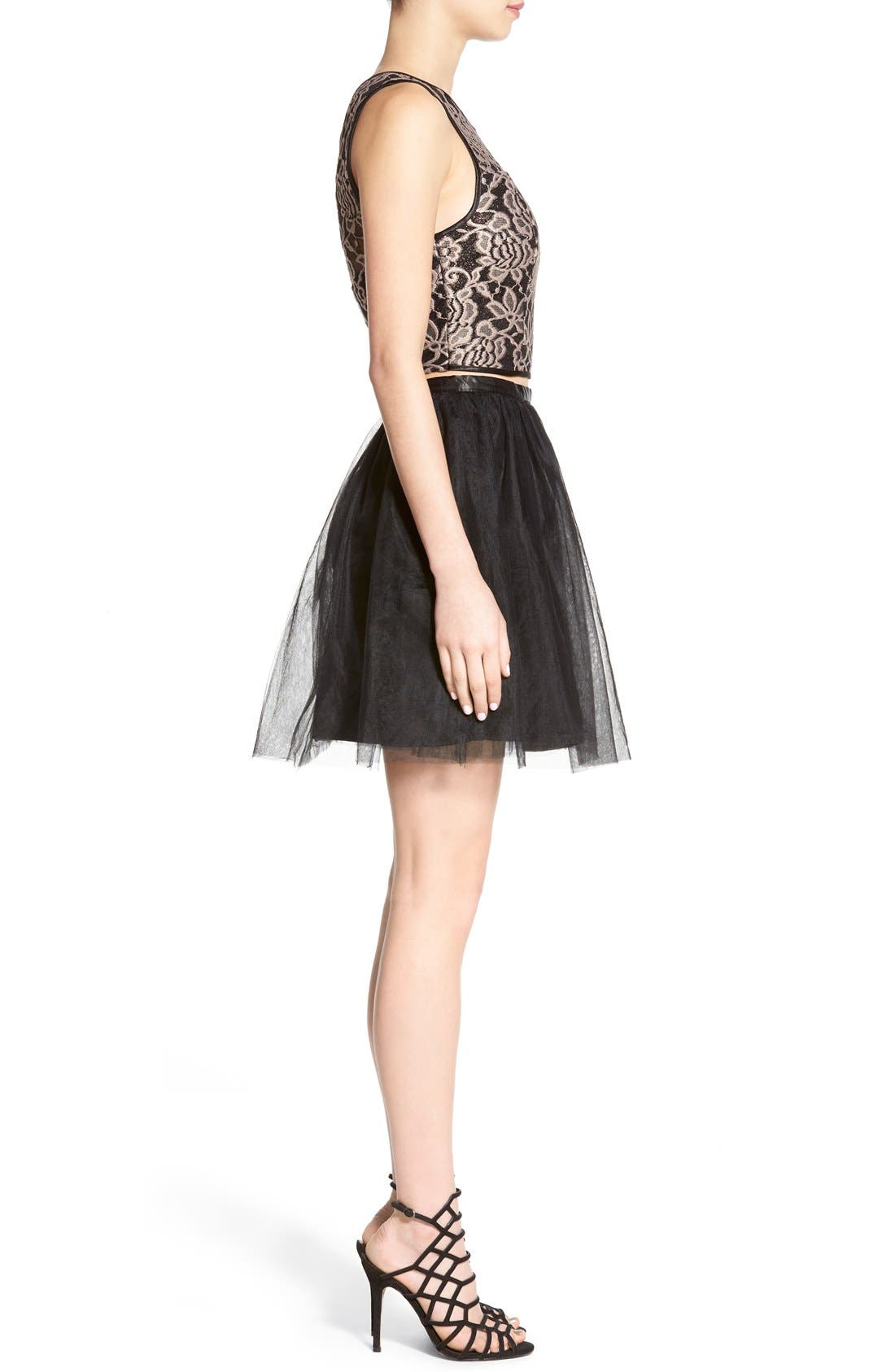 Alternate Image 3  - Love, Nickie Lew Lace Bodice Two-Piece Dress