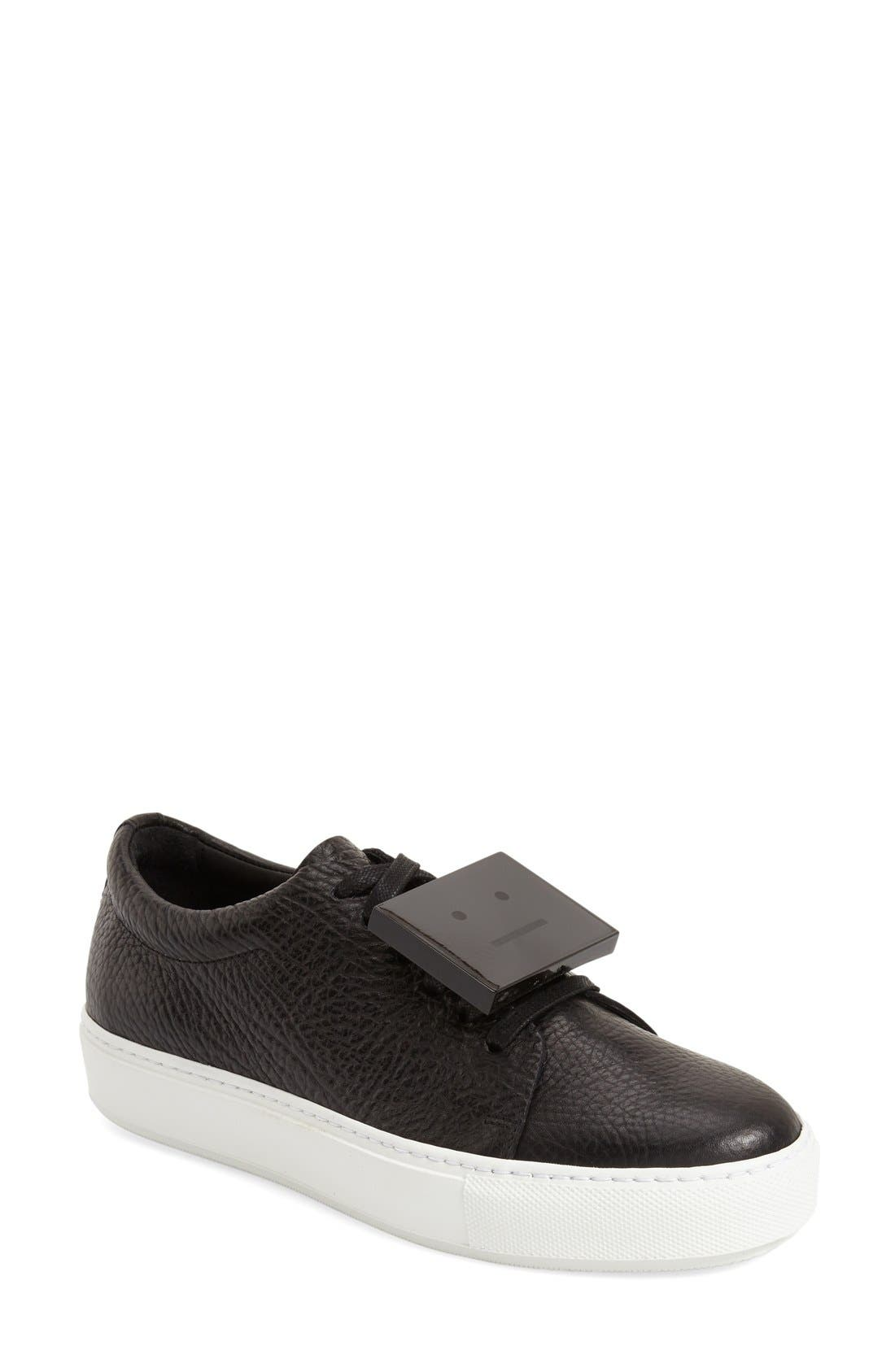 Adriana - Grain Leather Sneaker,                         Main,                         color, Black Leather