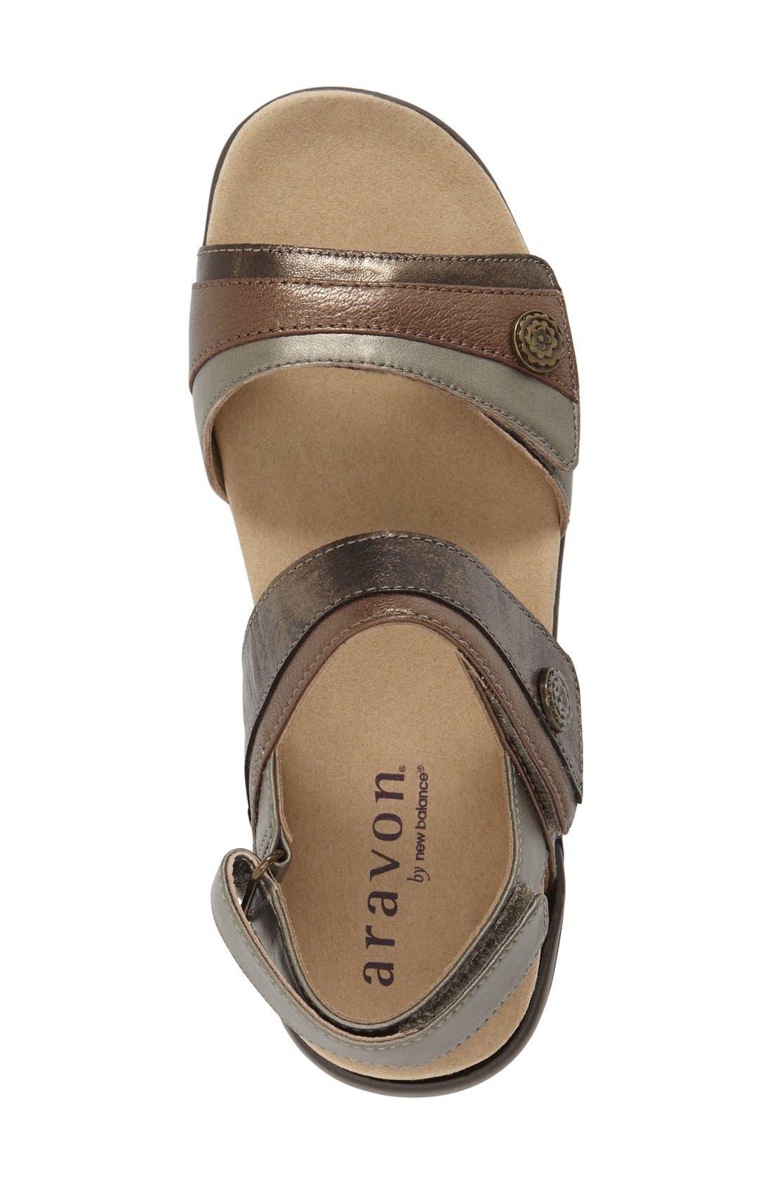 'Katherine' Sandal,                             Alternate thumbnail 3, color,                             Grey Leather