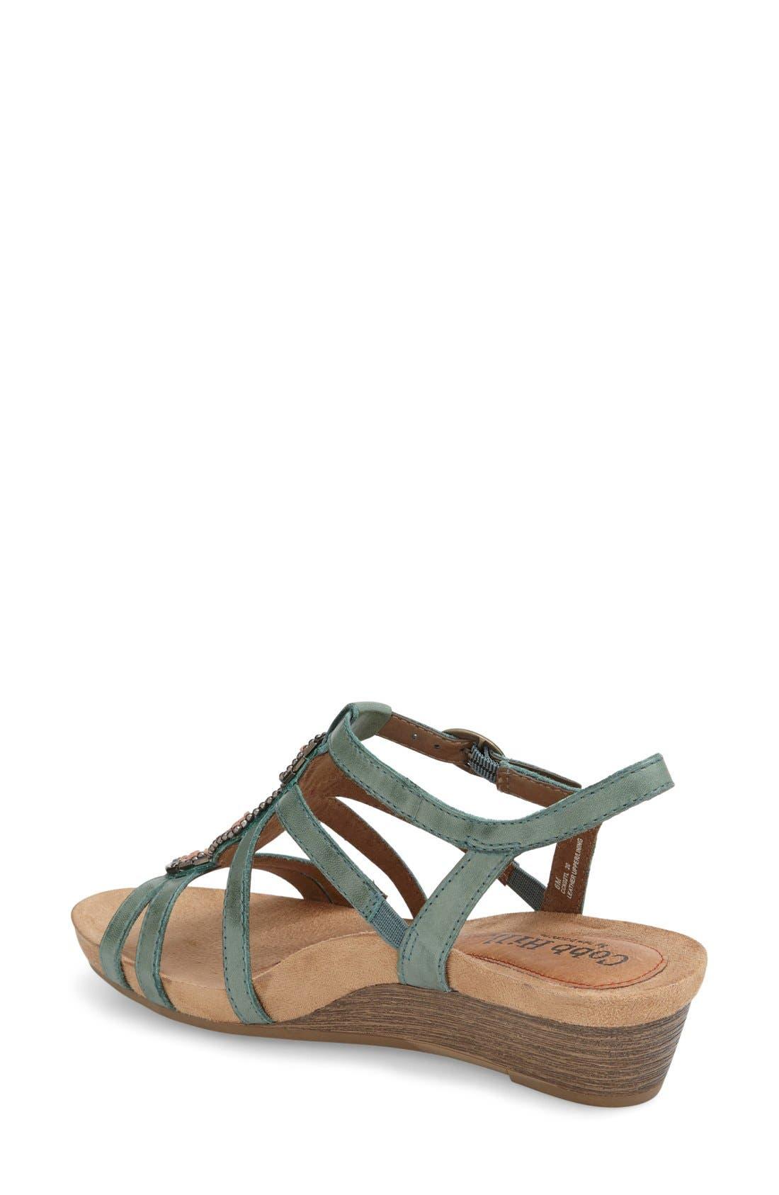 'Hannah' Leather Sandal,                             Alternate thumbnail 2, color,                             Teal Leather