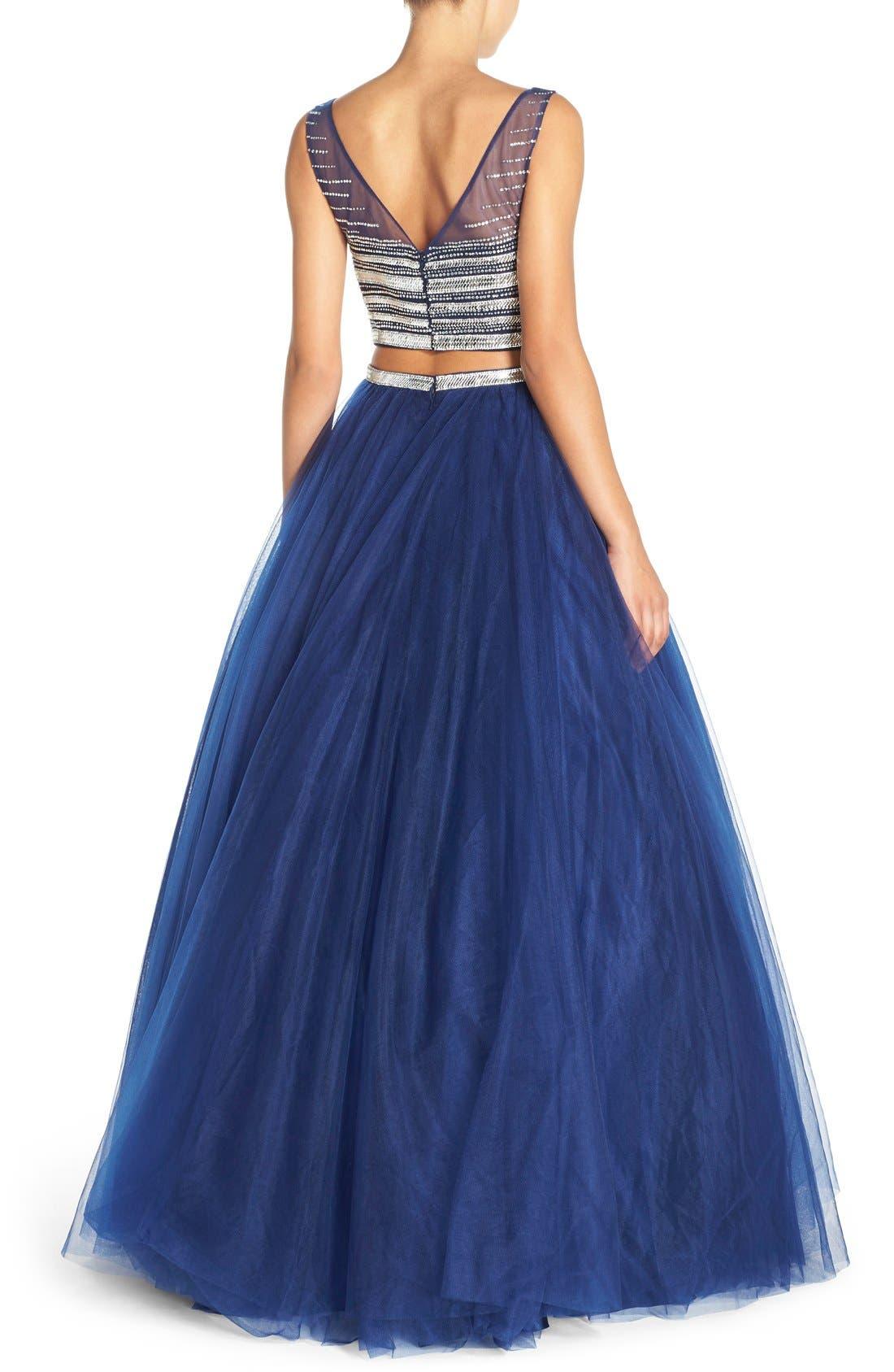 Alternate Image 2  - JVN by Jovani Embellished Top & Mesh Two-Piece Ballgown